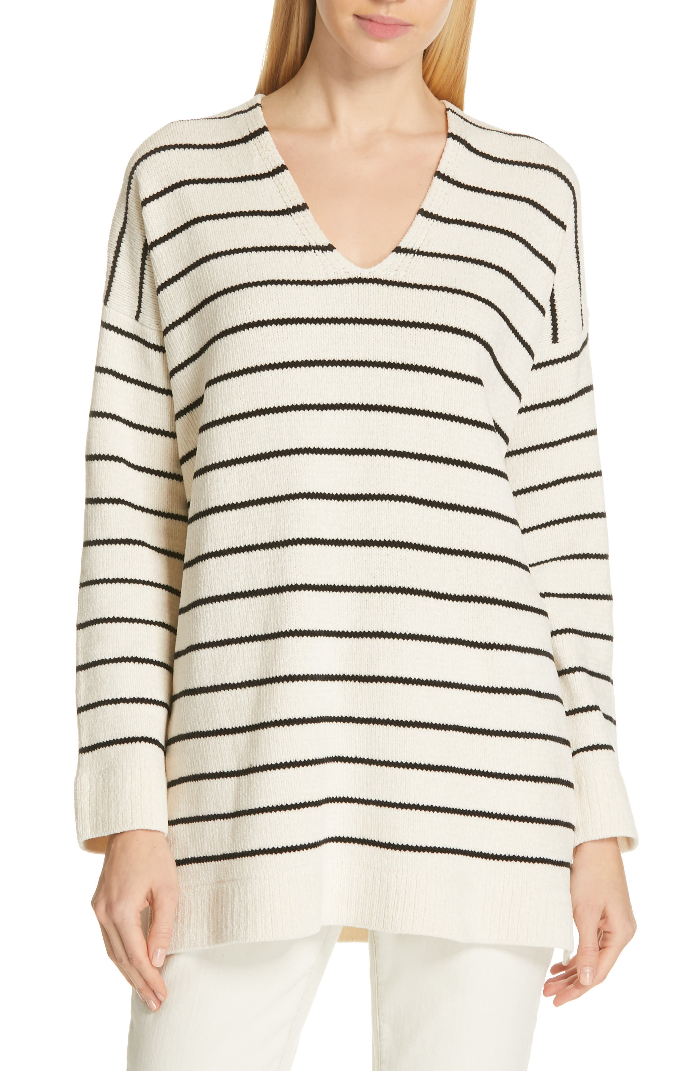 EILEEN FISHER, V-Neck Tunic Sweater, Main thumbnail 1, color, SOFT WHITE/ BLACK