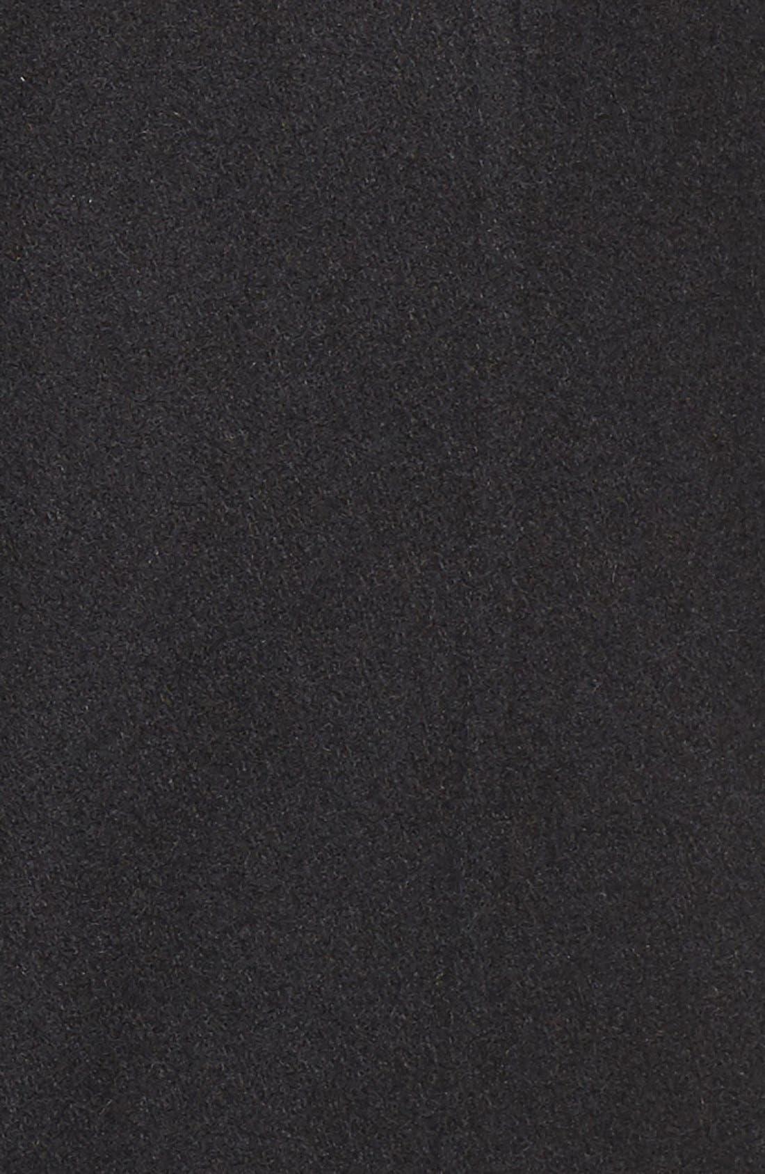 VIA SPIGA, Wool Blend Coat with Faux Fur Trim, Alternate thumbnail 5, color, 001