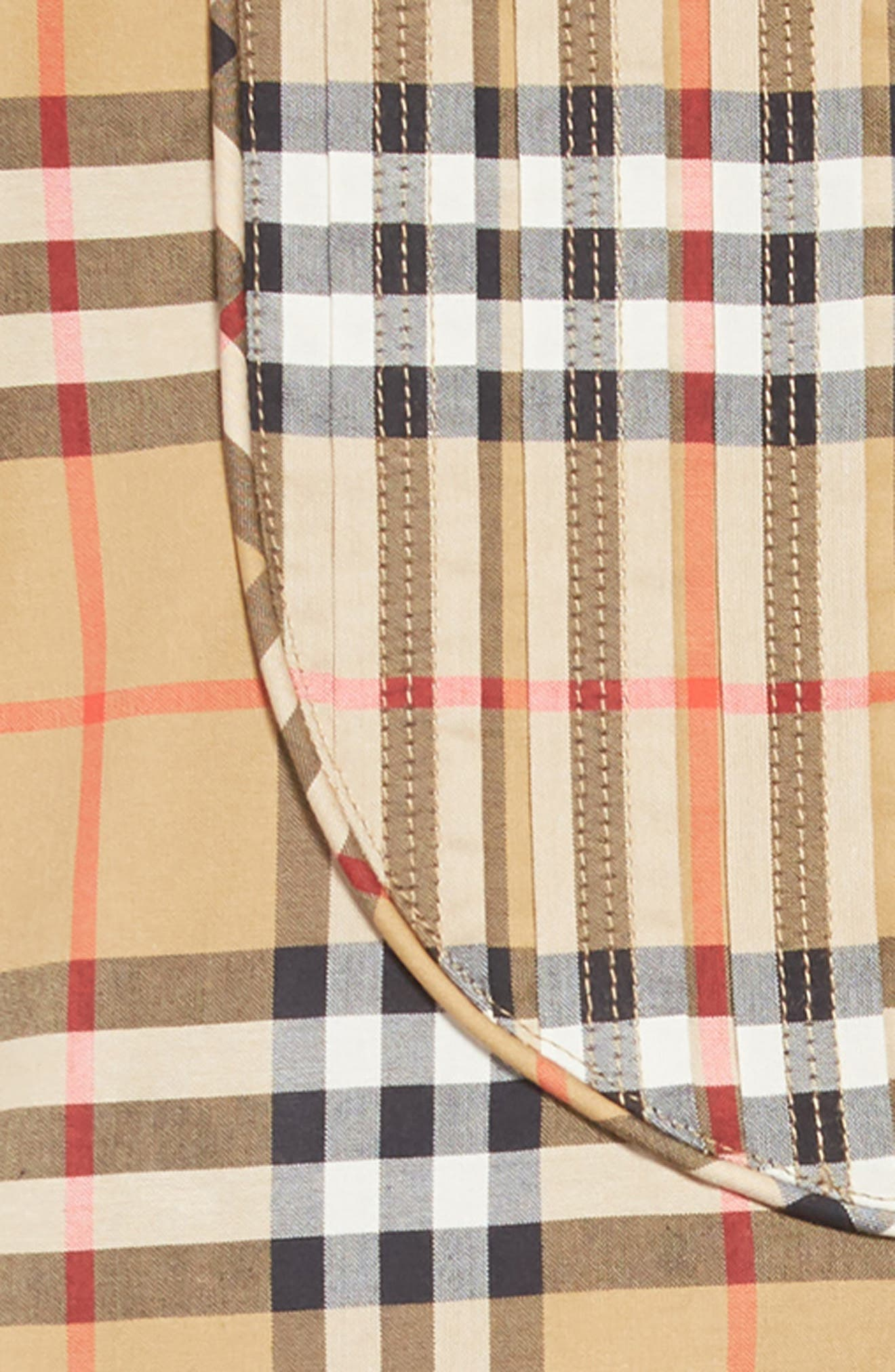 BURBERRY, Elodie Vintage Check Shirtdress, Alternate thumbnail 3, color, ANTIQUE YELLOW
