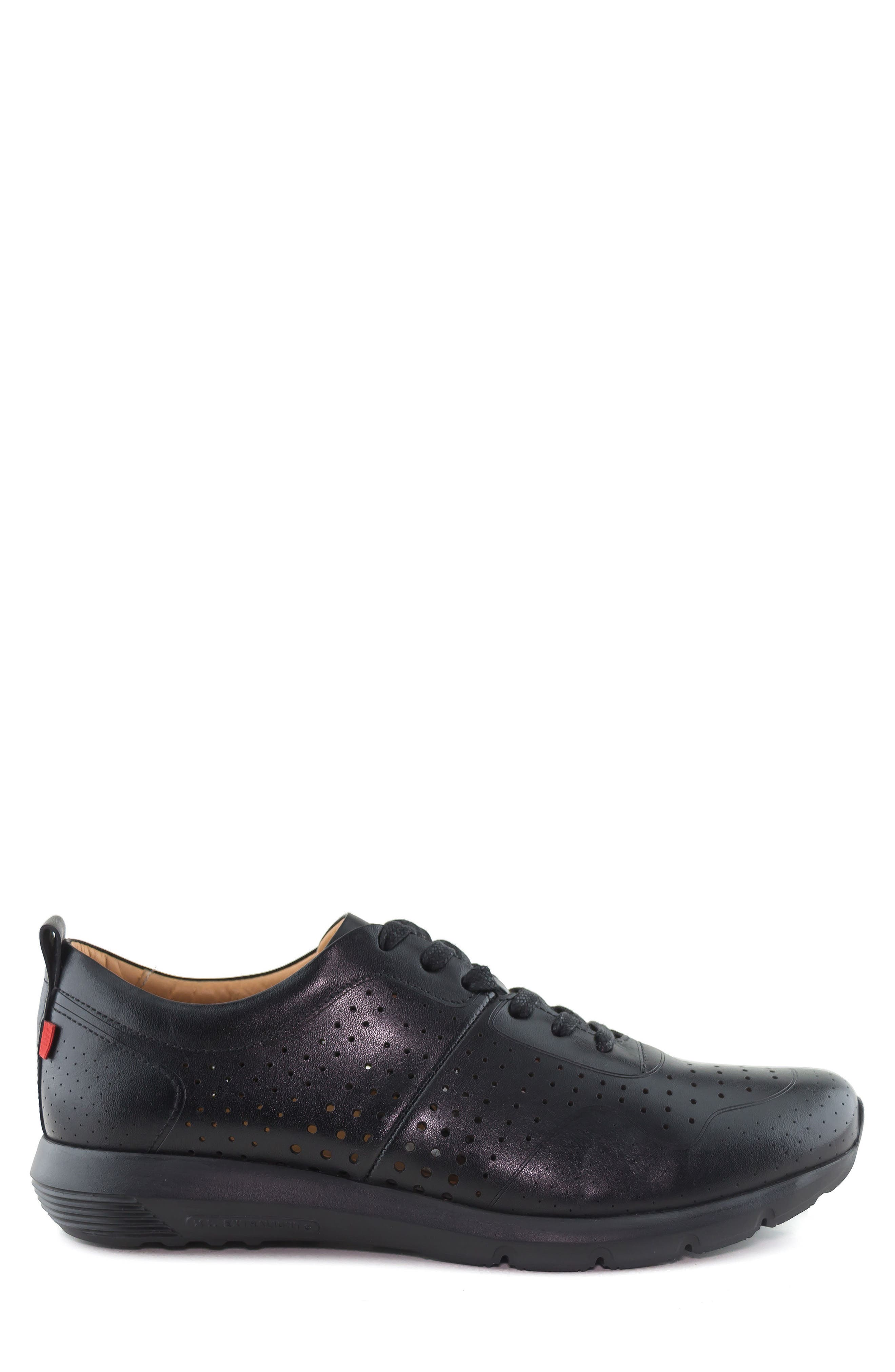 MARC JOSEPH NEW YORK, Grand Central Perforated Sneaker, Alternate thumbnail 3, color, BLACK