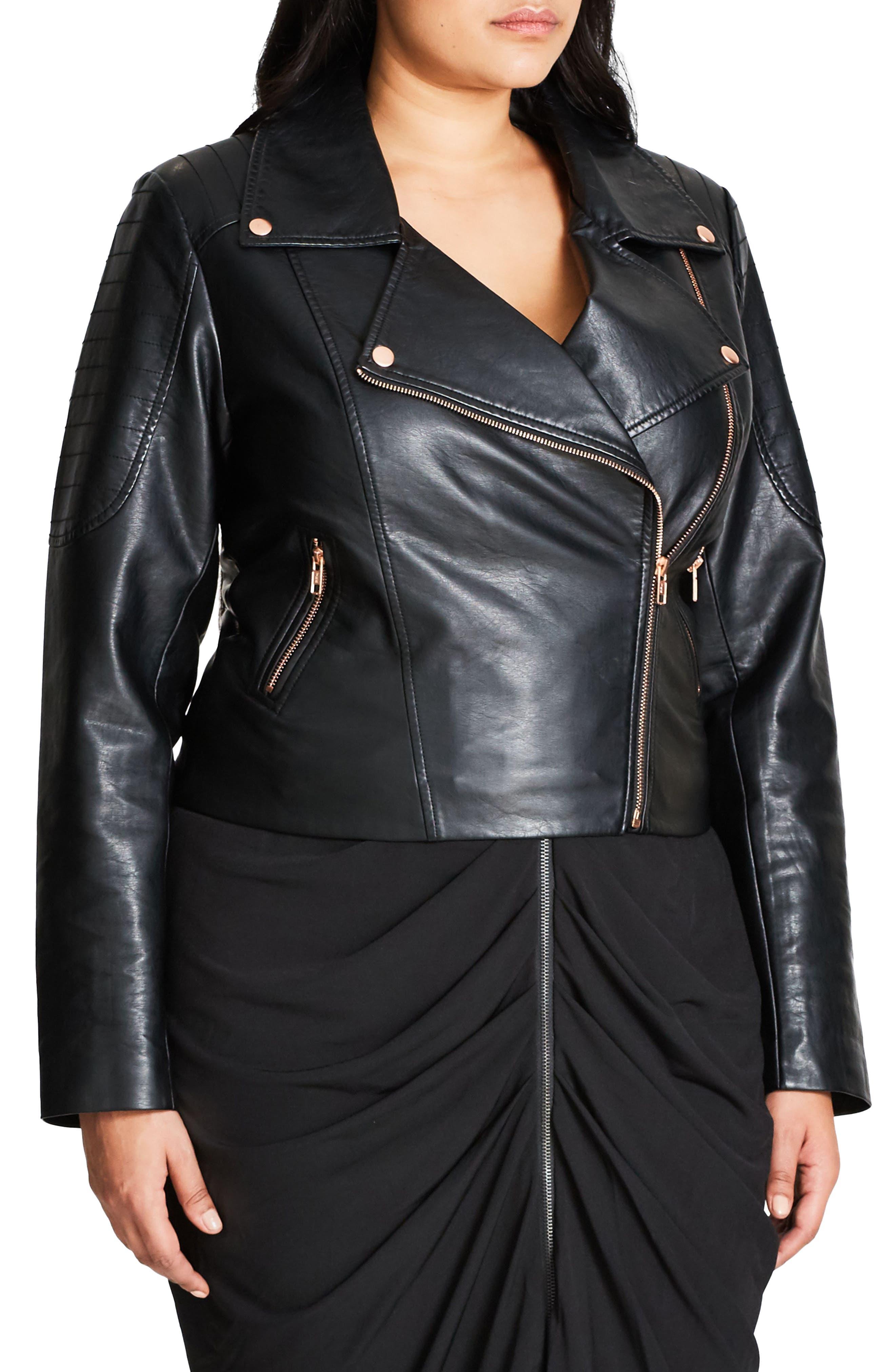 CITY CHIC, Faux Leather Biker Jacket, Alternate thumbnail 3, color, BLACK