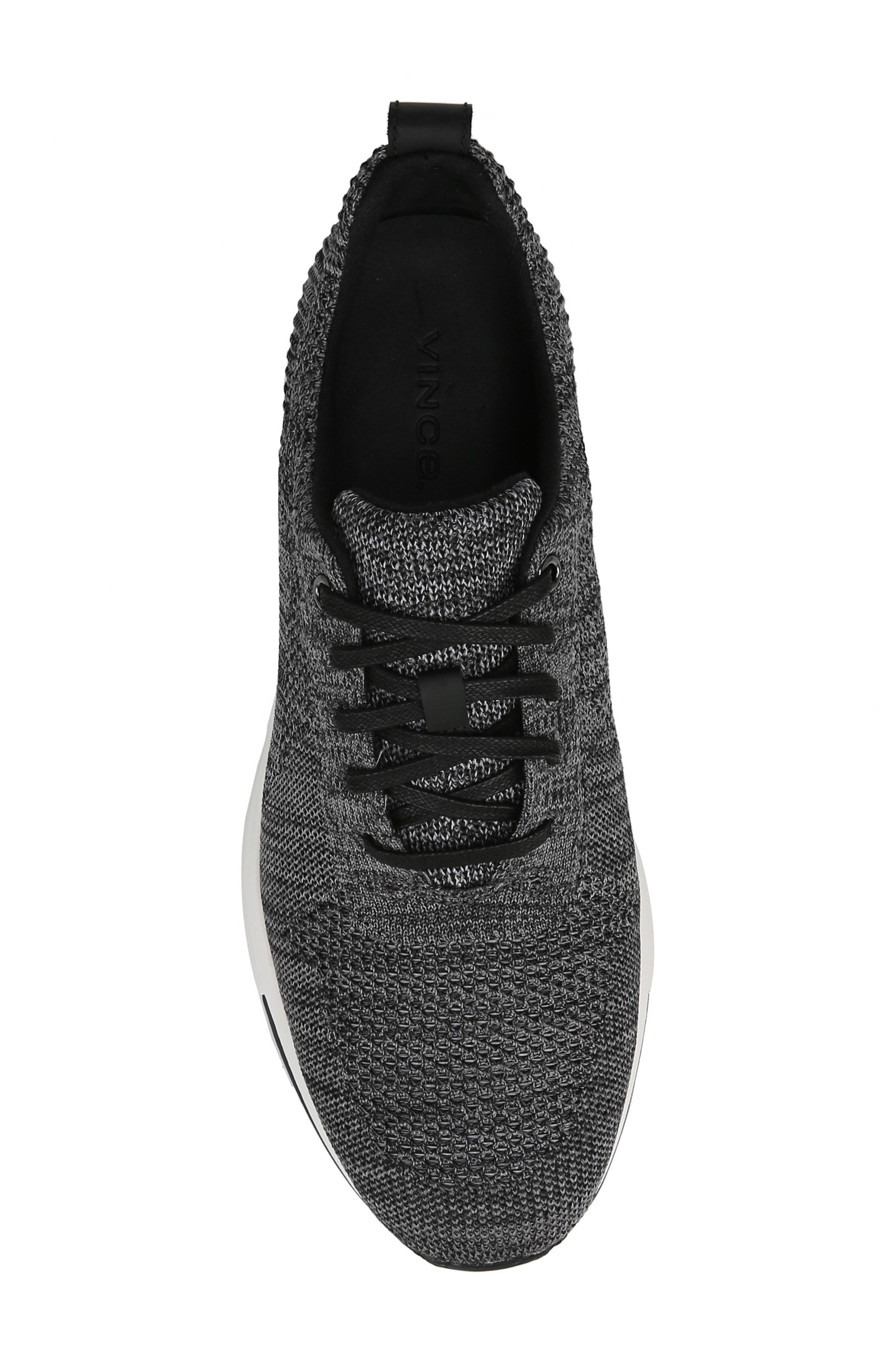VINCE, Palo Knit Sneaker, Alternate thumbnail 5, color, MARL GREY/ BLACK