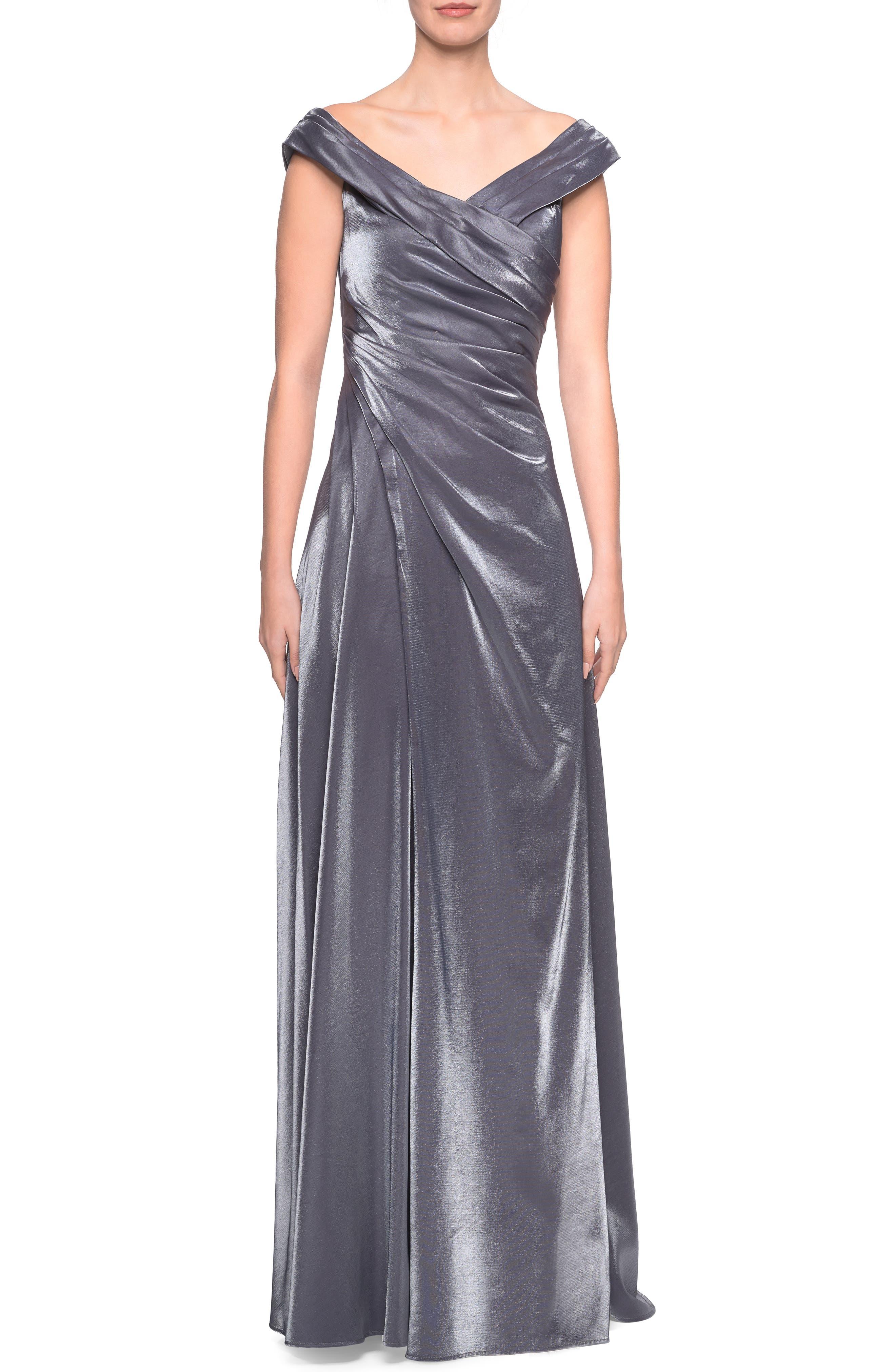 La Femme Ruched Satin Evening Dress, Grey