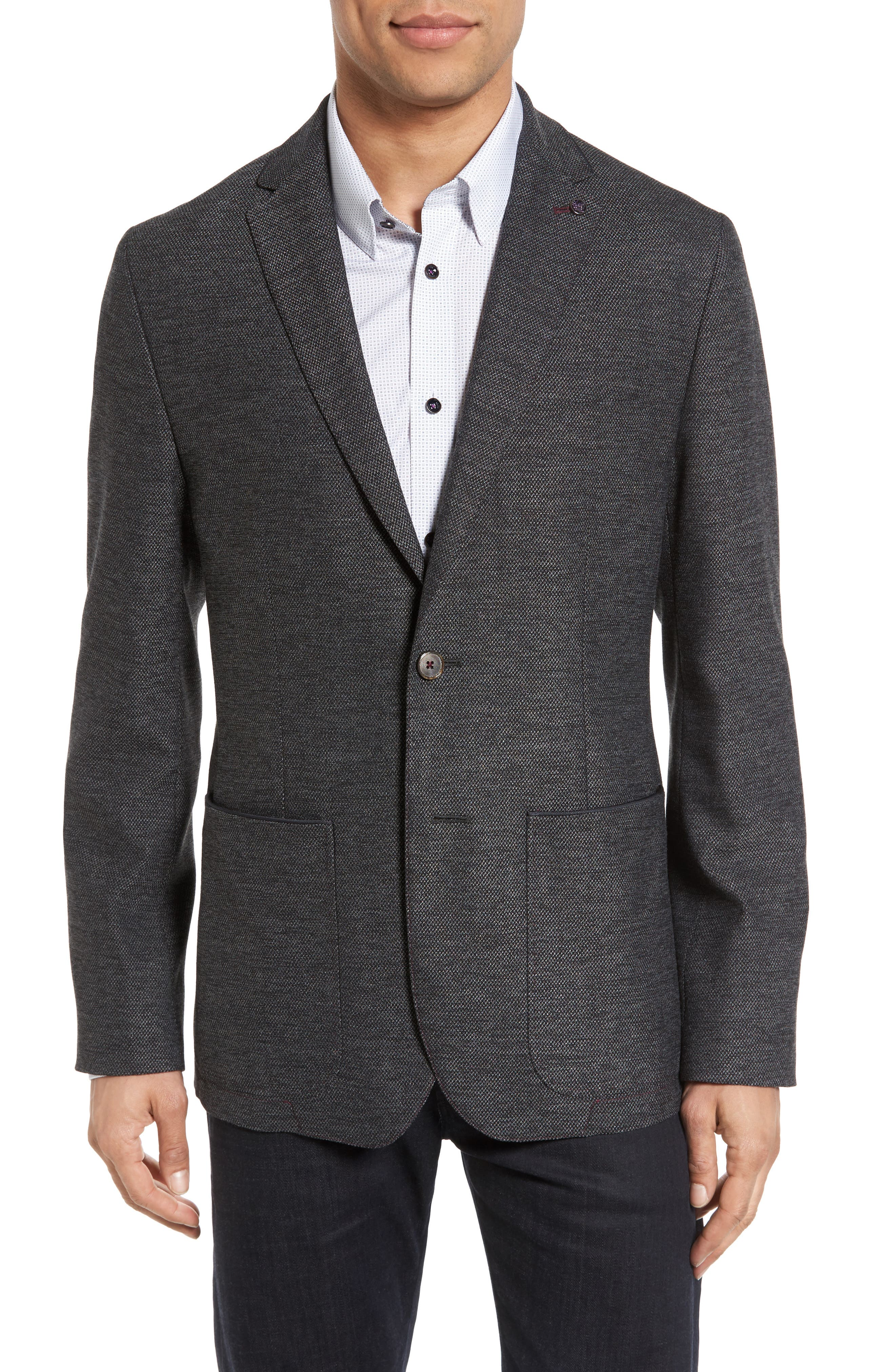 TED BAKER LONDON, Finland Buggy Modern Slim Fit Jacket, Main thumbnail 1, color, 010