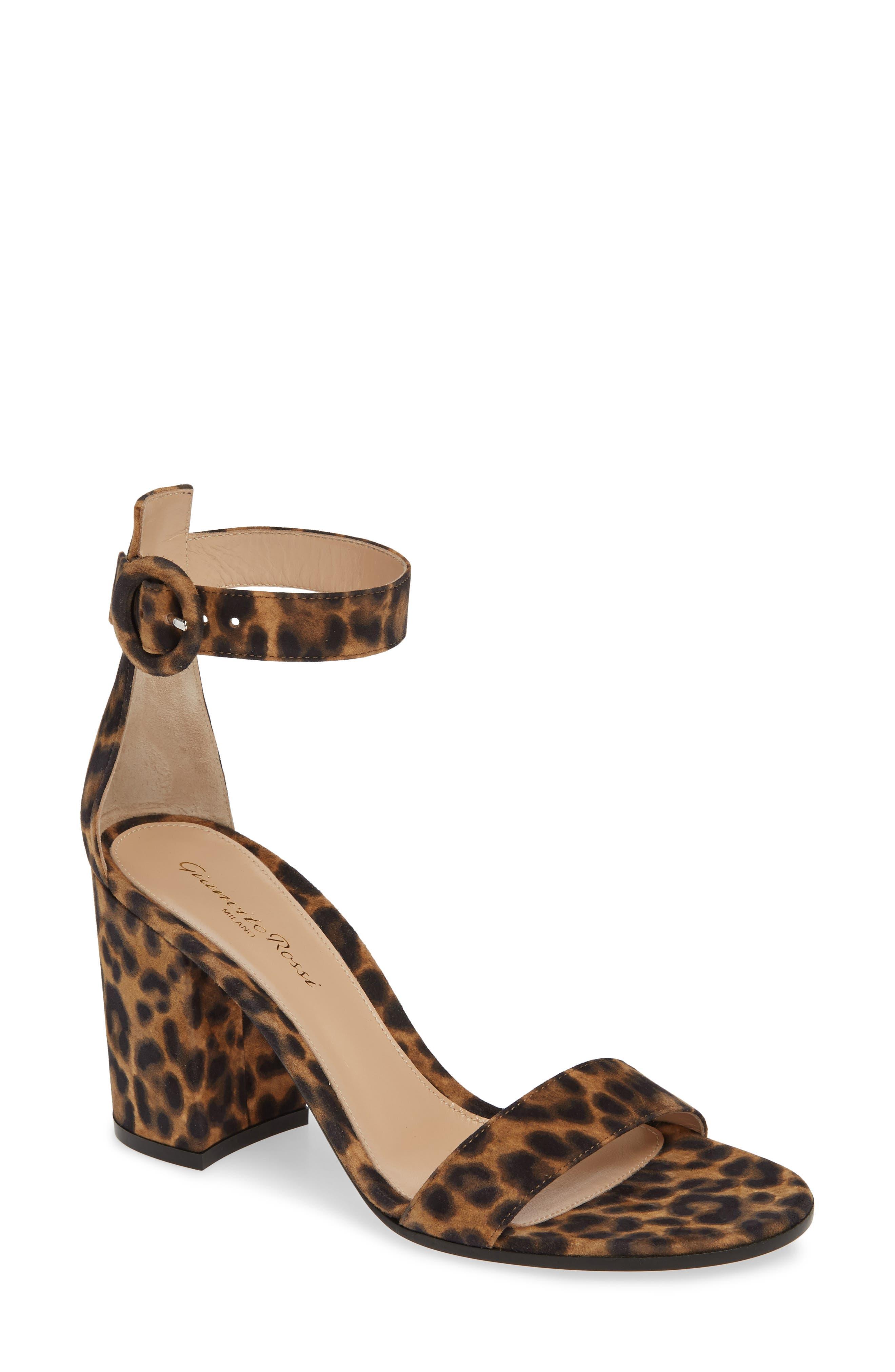 GIANVITO ROSSI, Leopard Print Ankle Strap Sandal, Main thumbnail 1, color, LEOPARD