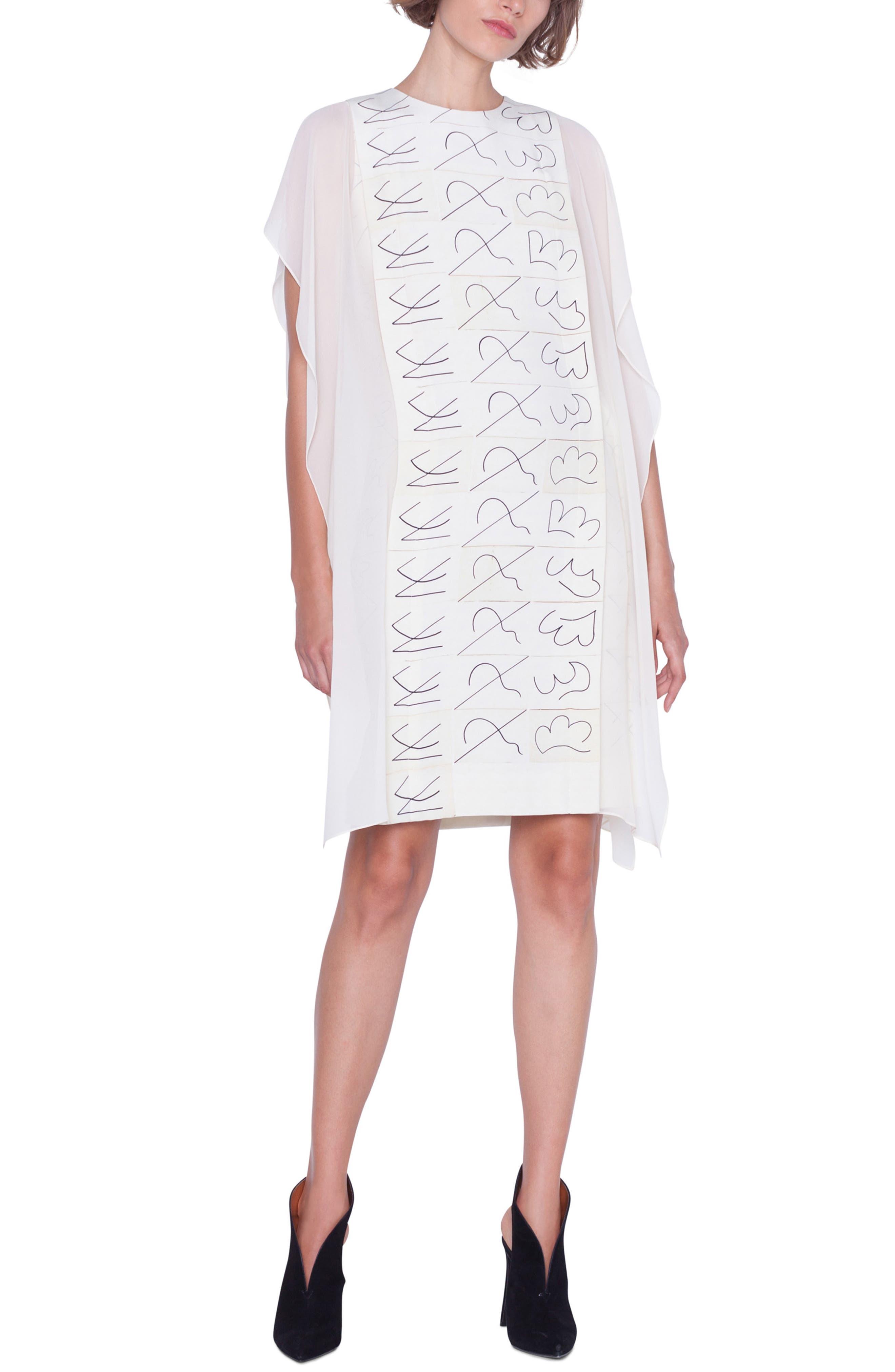 AKRIS, Leporello Print Cold Shoulder Silk Dress, Alternate thumbnail 6, color, PAPER