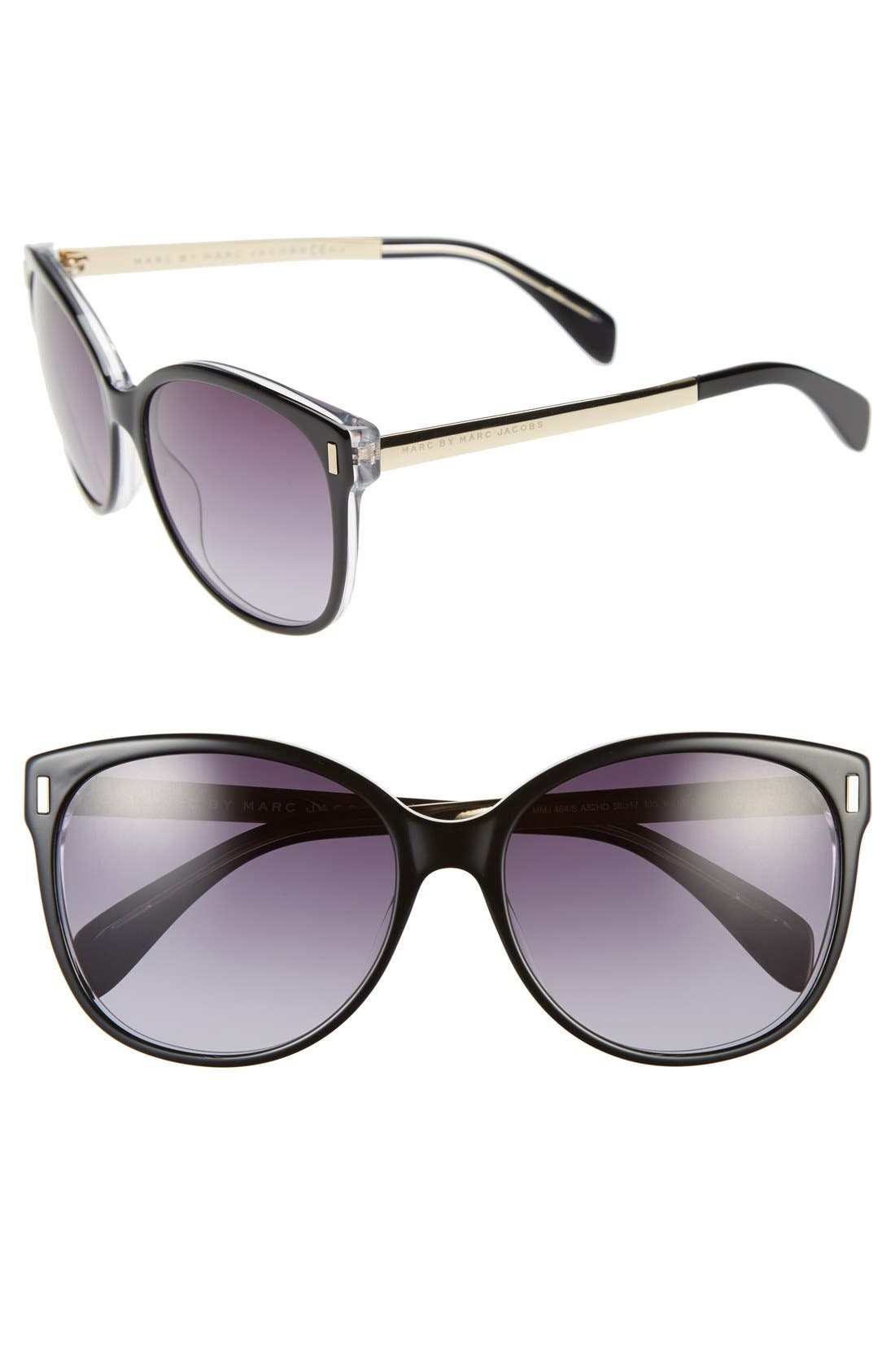MARC BY MARC JACOBS, 56mm Retro Sunglasses, Main thumbnail 1, color, 001