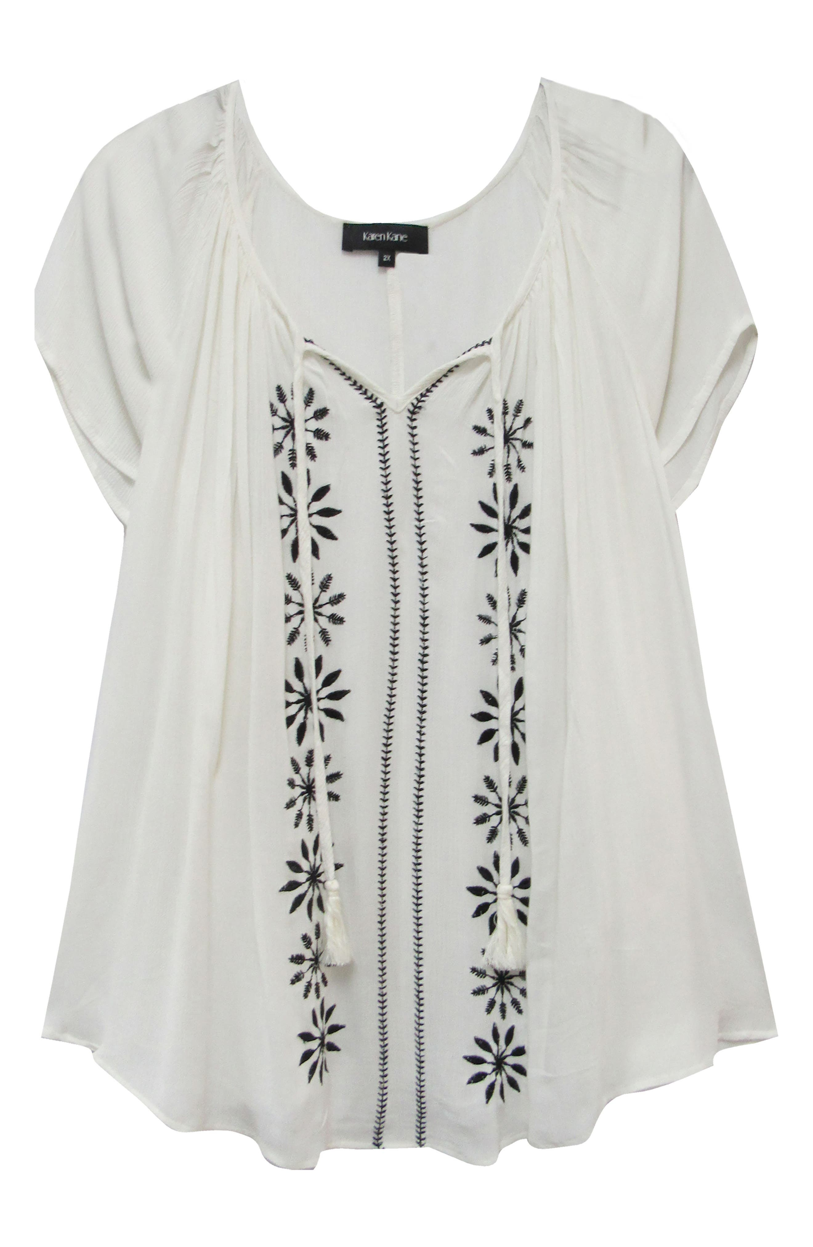 KAREN KANE, Embroidered Peasant Top, Alternate thumbnail 3, color, OFF WHITE WITH BLACK