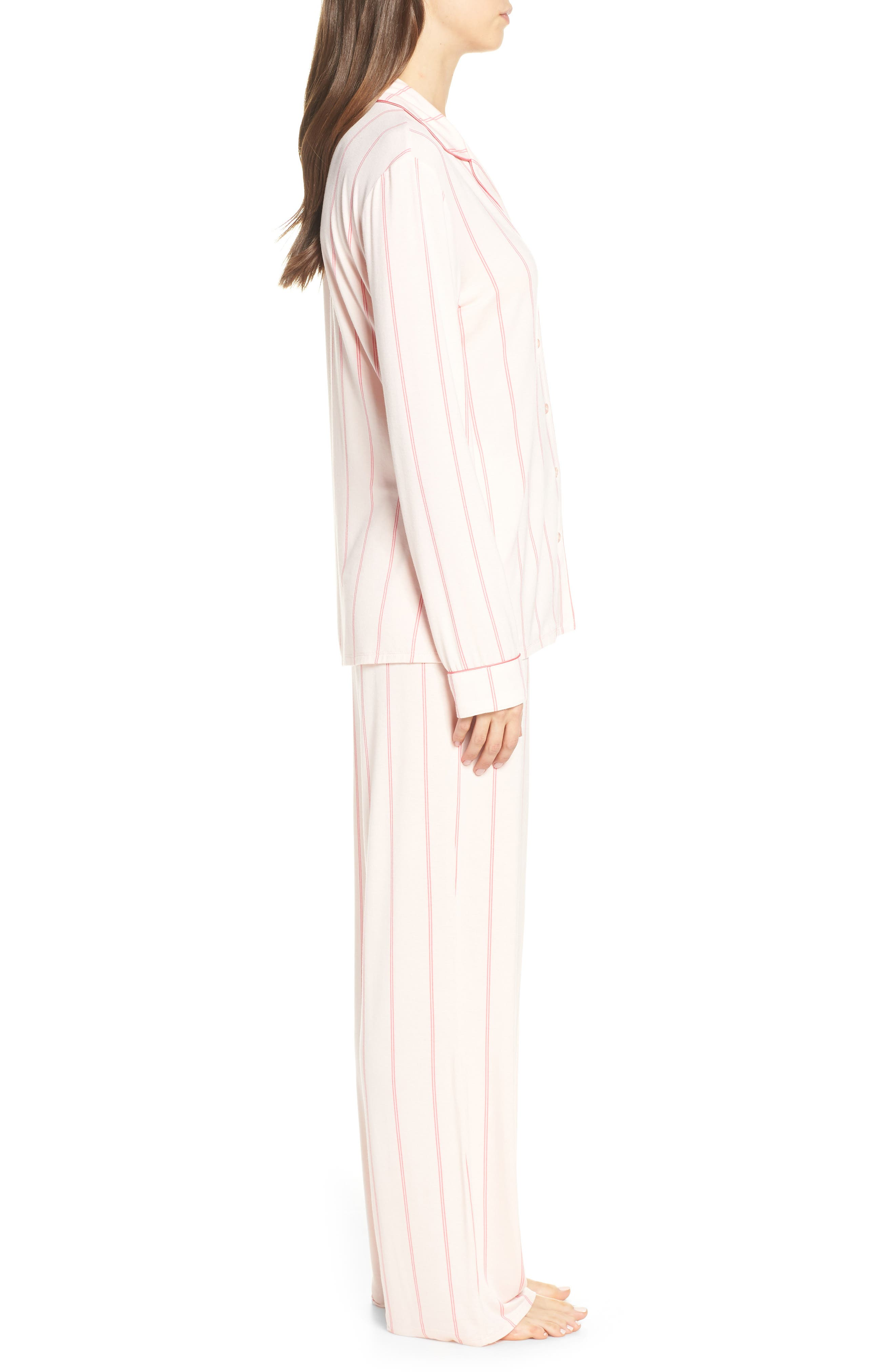 NORDSTROM LINGERIE, Moonlight Pajamas, Alternate thumbnail 3, color, PINK CRYSTAL MICRO STRIPE