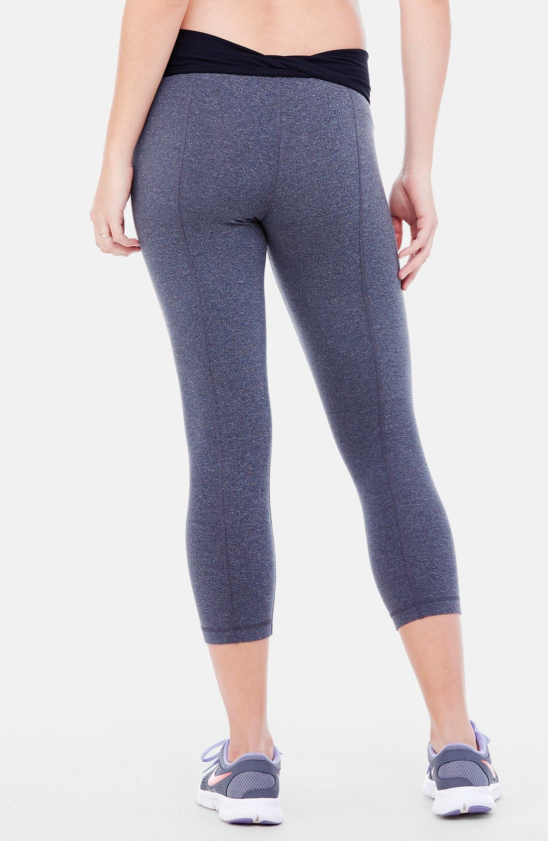 INGRID & ISABEL<SUP>®</SUP>, Active Maternity Capri Pants with Crossover Panel, Alternate thumbnail 6, color, DARK HEATHER GREY