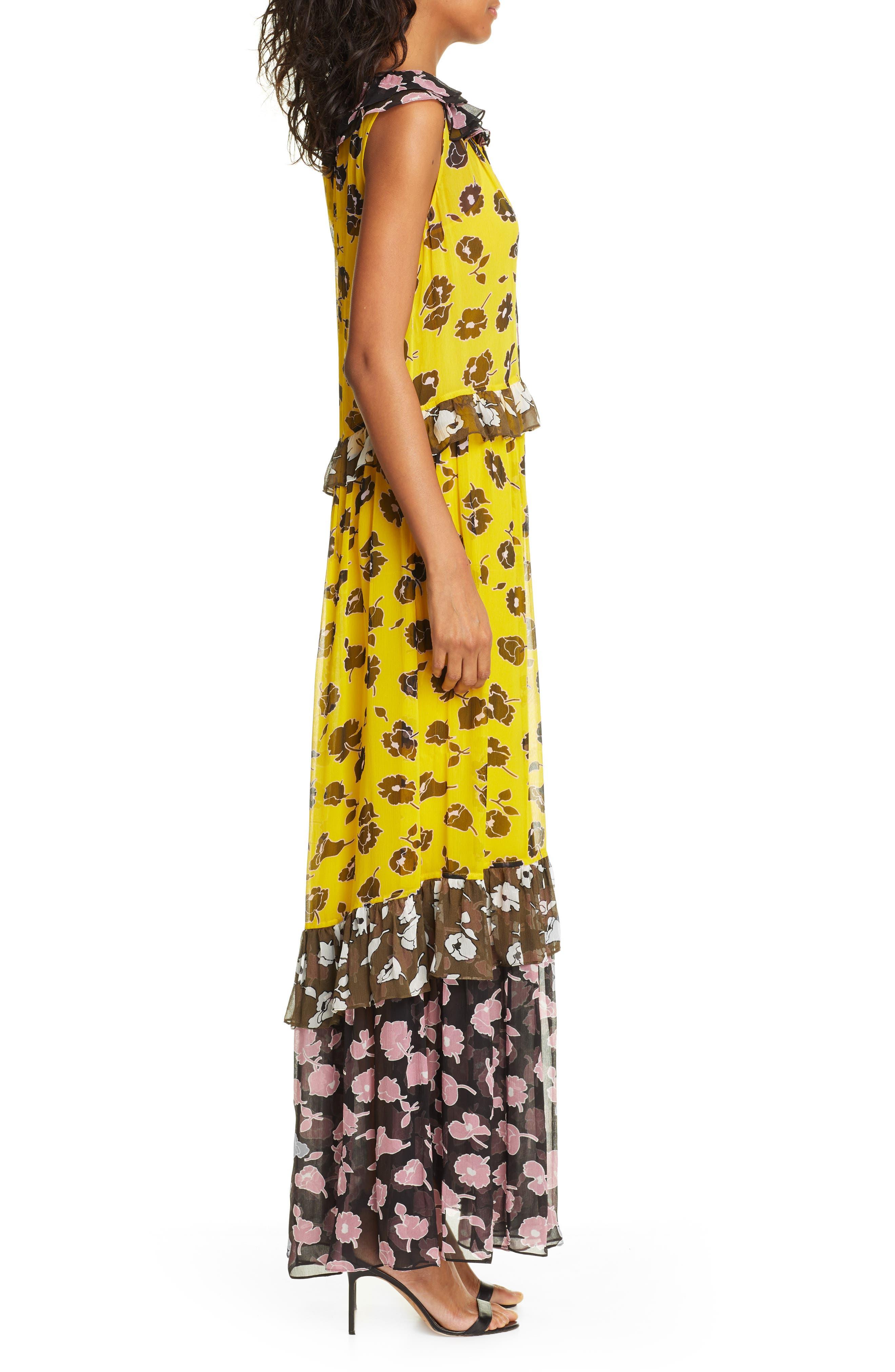 DVF, Drea Pattern Mix Tiered Silk Maxi Dress, Alternate thumbnail 3, color, ROSE SHOWERS GOLDENROD MULTI