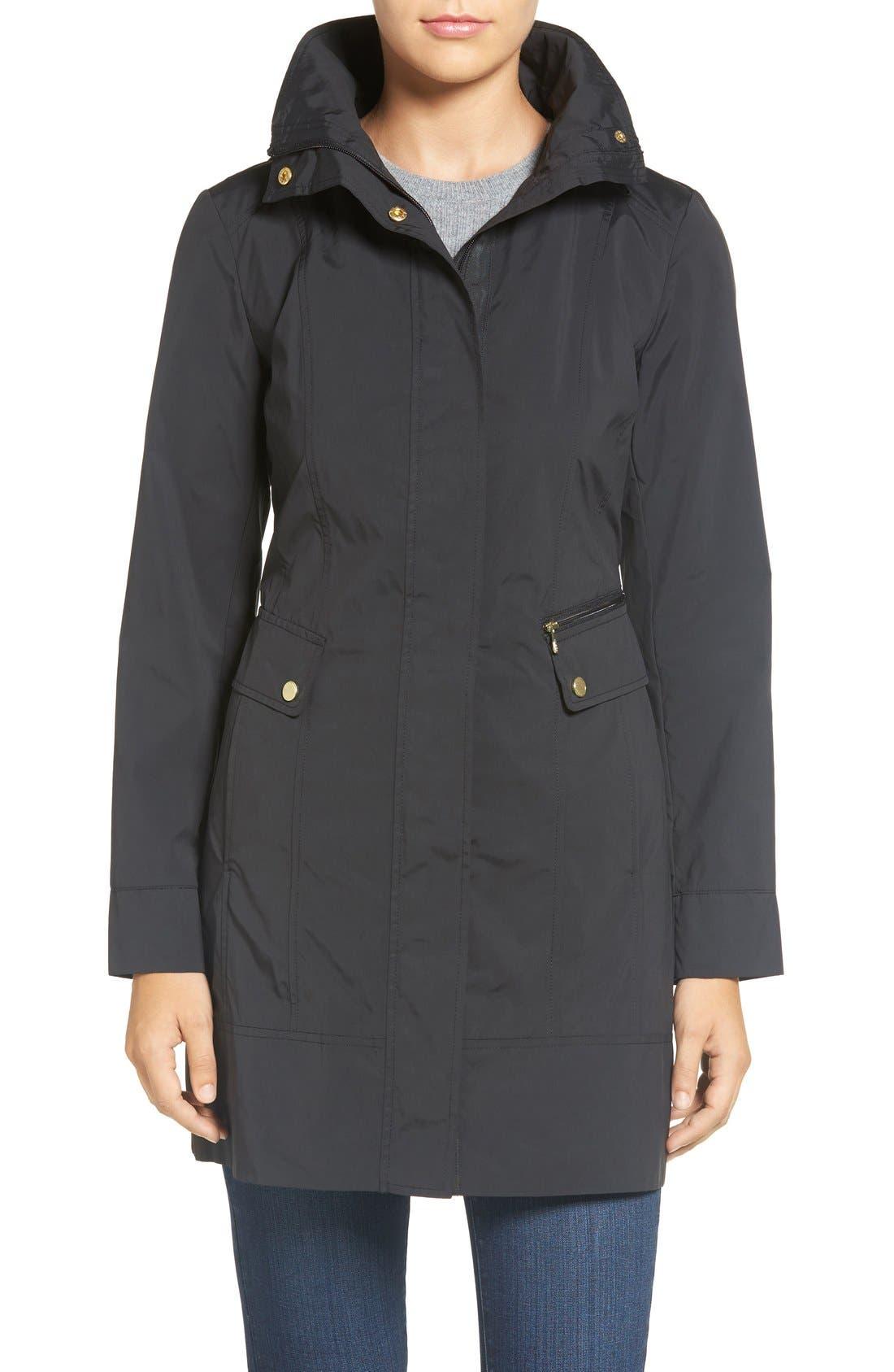 COLE HAAN SIGNATURE, Back Bow Packable Hooded Raincoat, Main thumbnail 1, color, BLACK