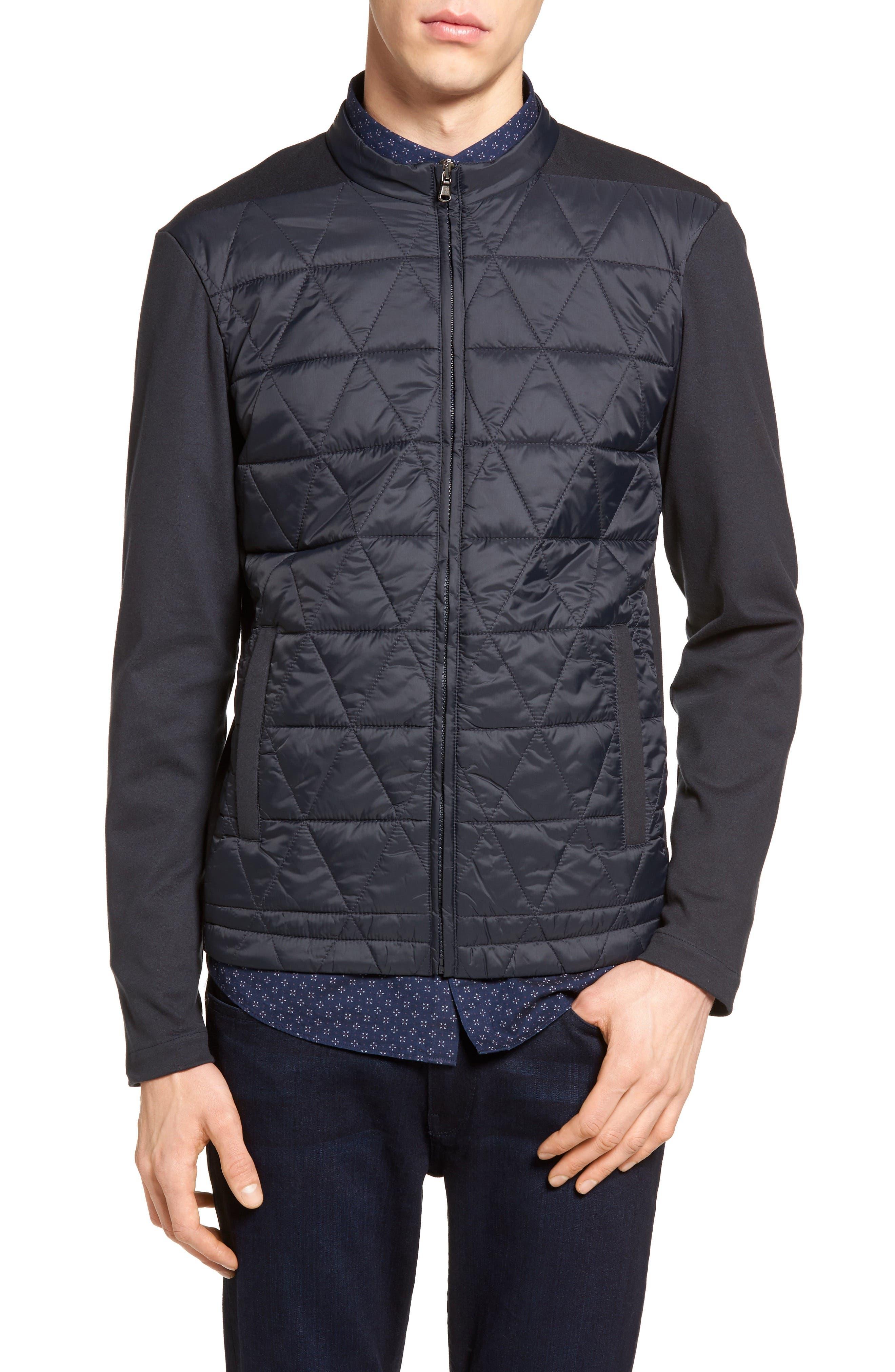 ZACHARY PRELL Rampart Mixed Media Jacket, Main, color, NAVY