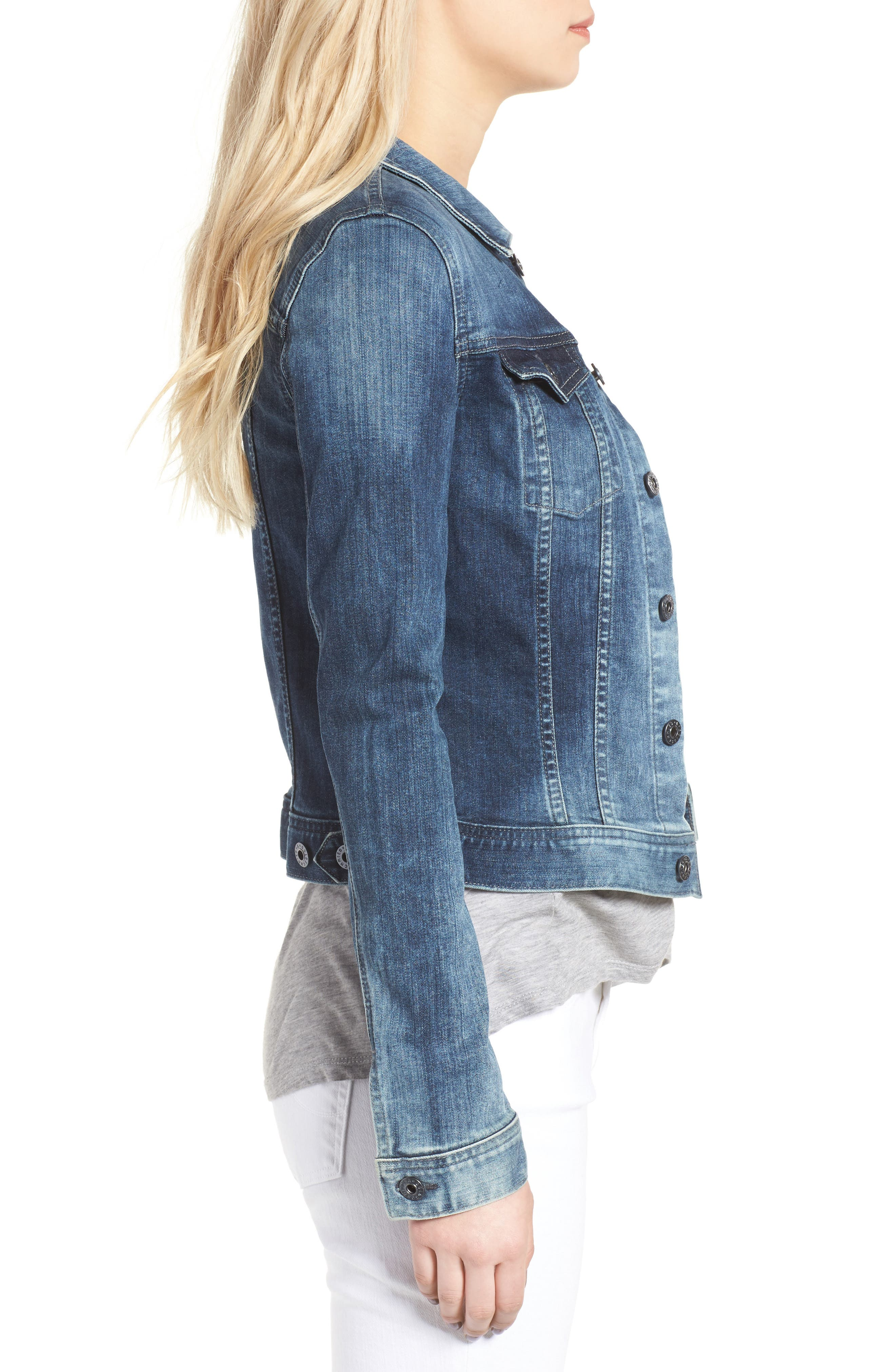 AG, 'Robyn' Denim Jacket, Alternate thumbnail 4, color, BLUE COVE