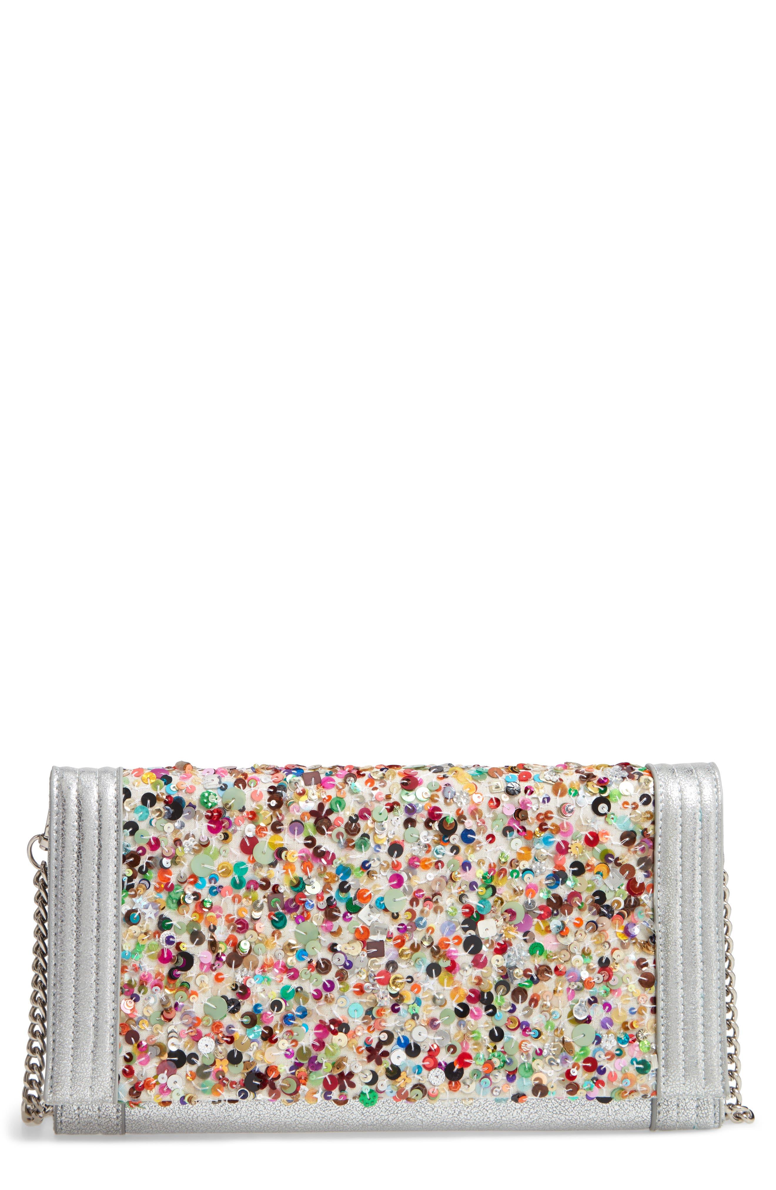 SONDRA ROBERTS Confetti Flap Clutch, Main, color, SILVER