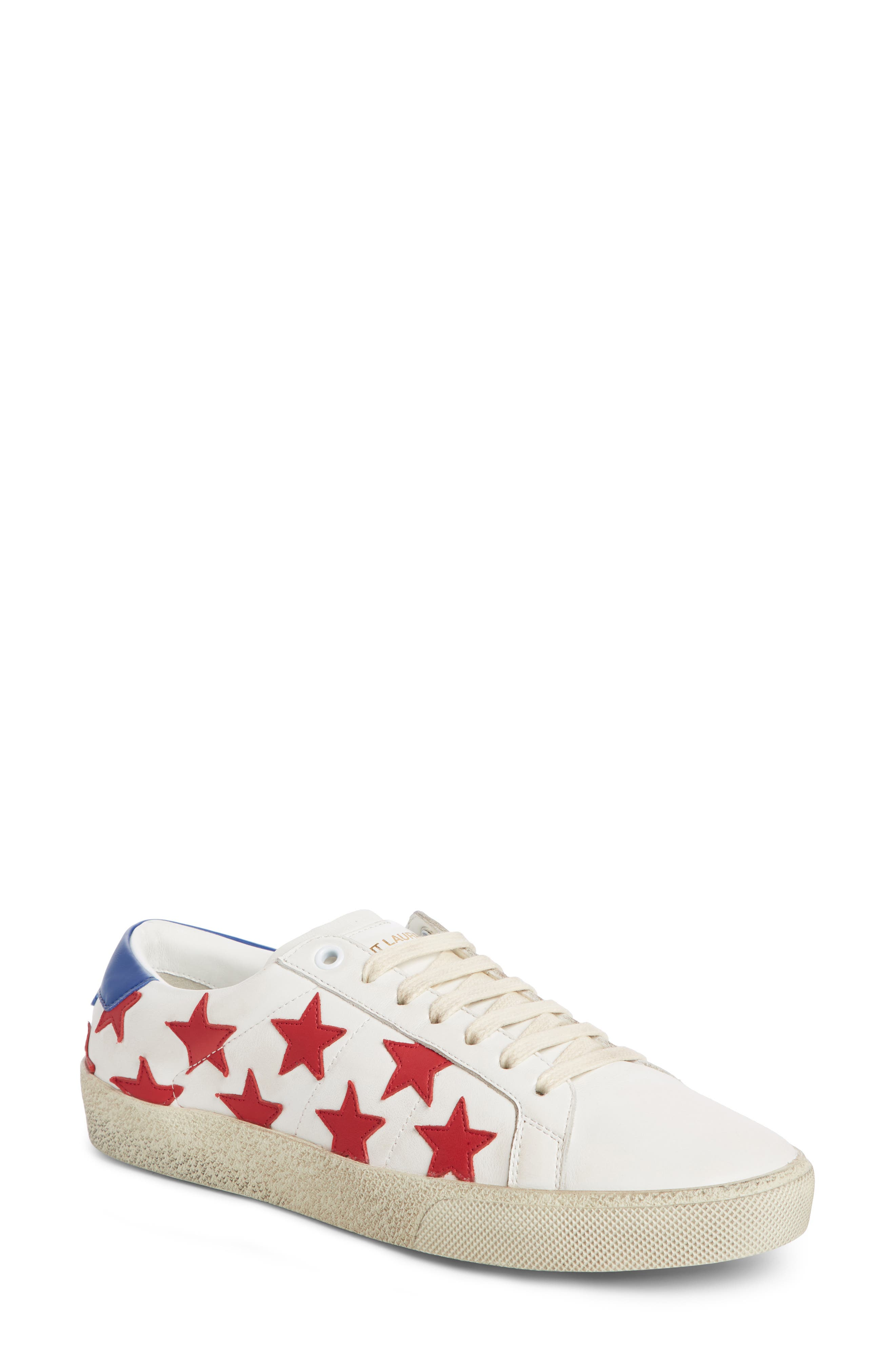 SAINT LAURENT, Classic Court Sneaker, Main thumbnail 1, color, WHITE/ RED