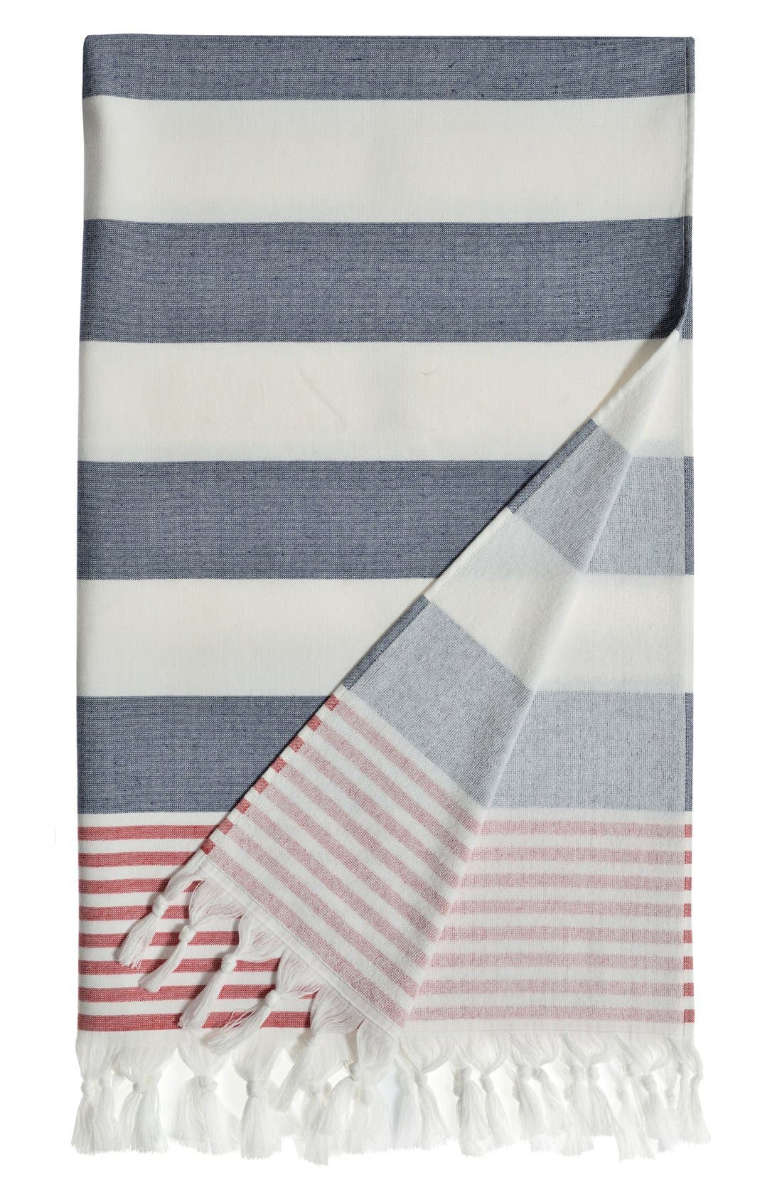 Linum Home Textiles Patriotic Turkish Pestemal Towel Size One Size  Blue