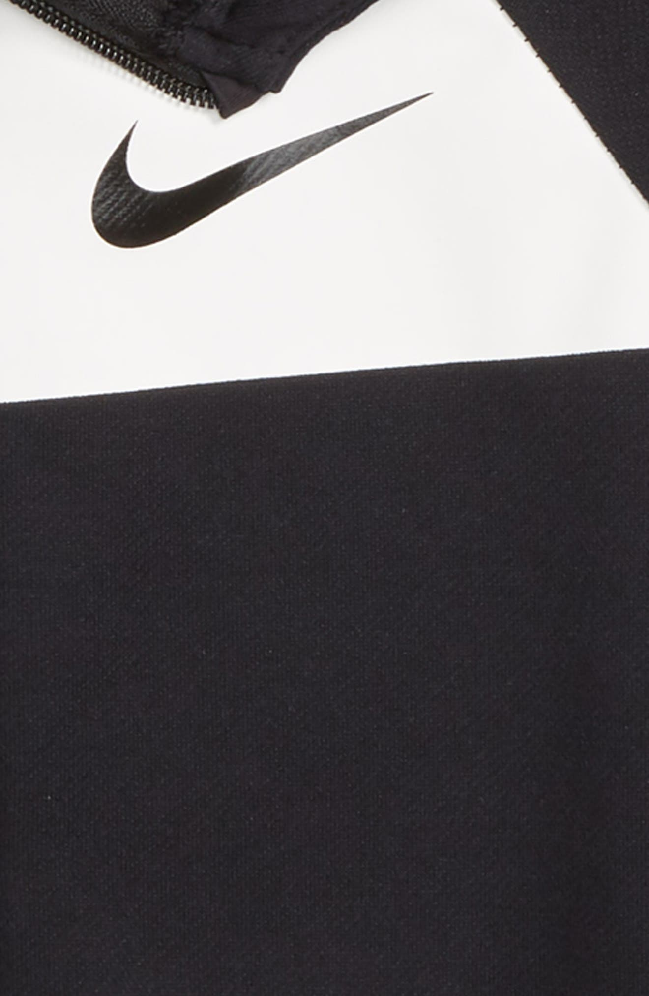NIKE, Dry Full Zip Hoodie, Alternate thumbnail 2, color, BLACK/ WHITE