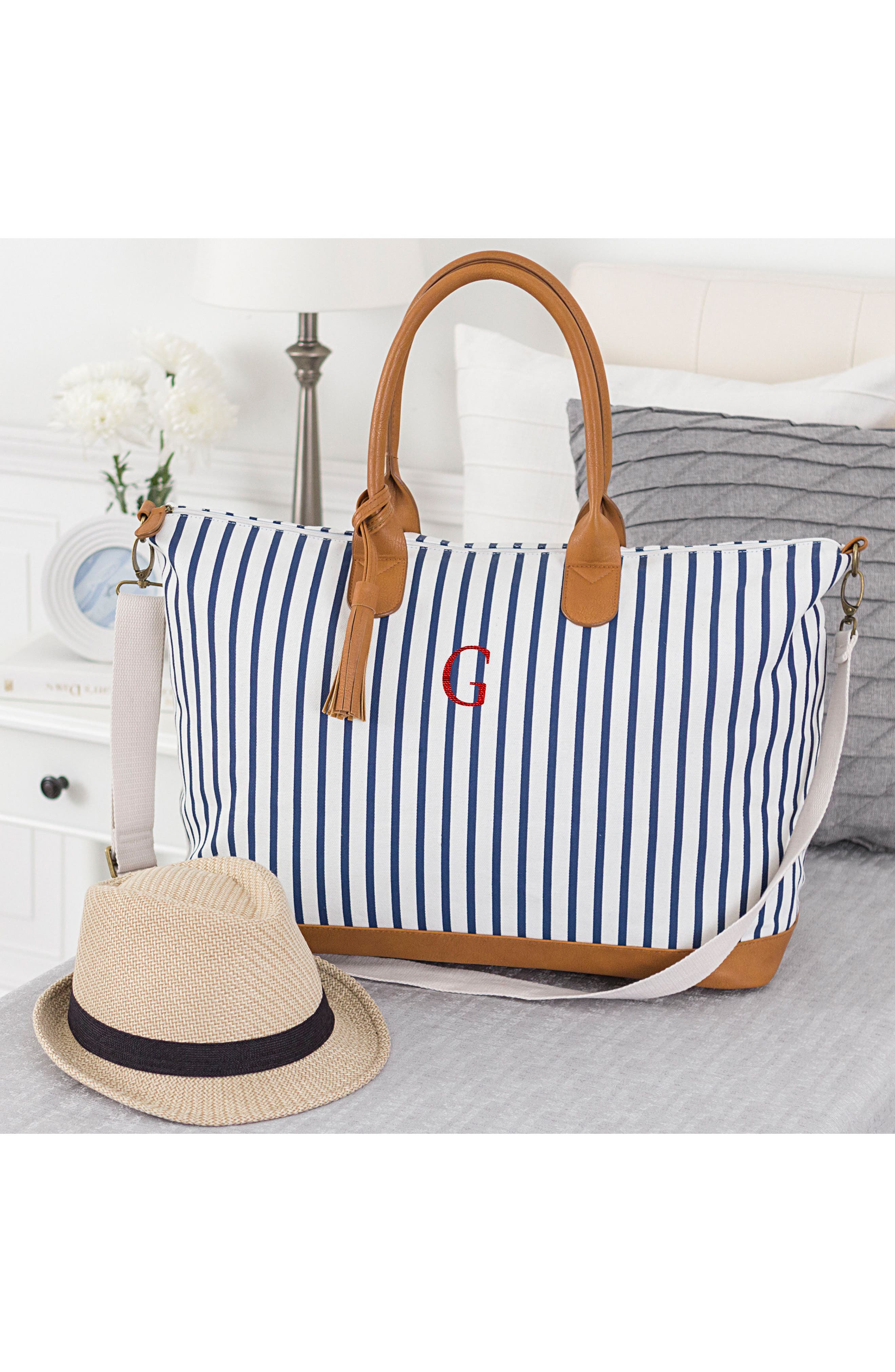CATHY'S CONCEPTS, Monogram Oversized Tote, Alternate thumbnail 7, color, BLUE