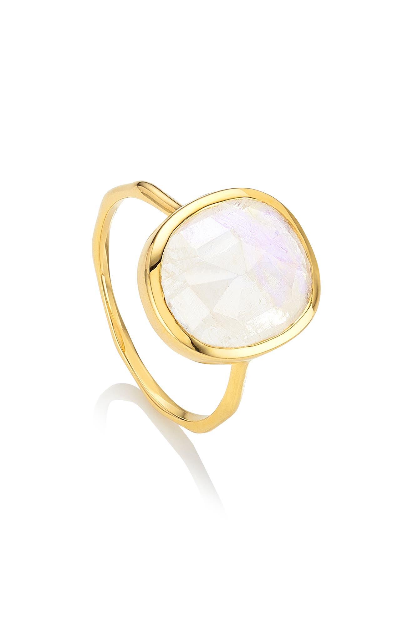 MONICA VINADER, Siren Semiprecious Stone Ring, Main thumbnail 1, color, GOLD/ MOONSTONE