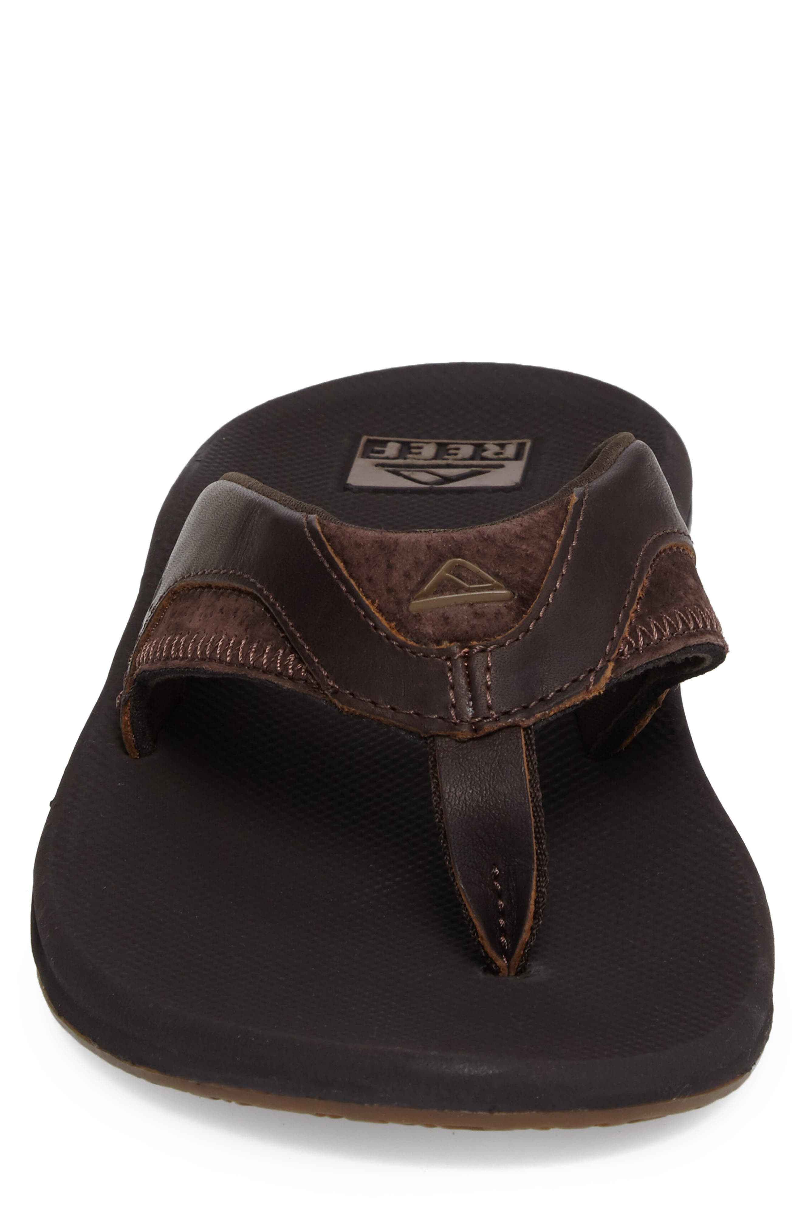 REEF, 'Fanning Leather' Flip Flop, Alternate thumbnail 4, color, BROWN LEATHER