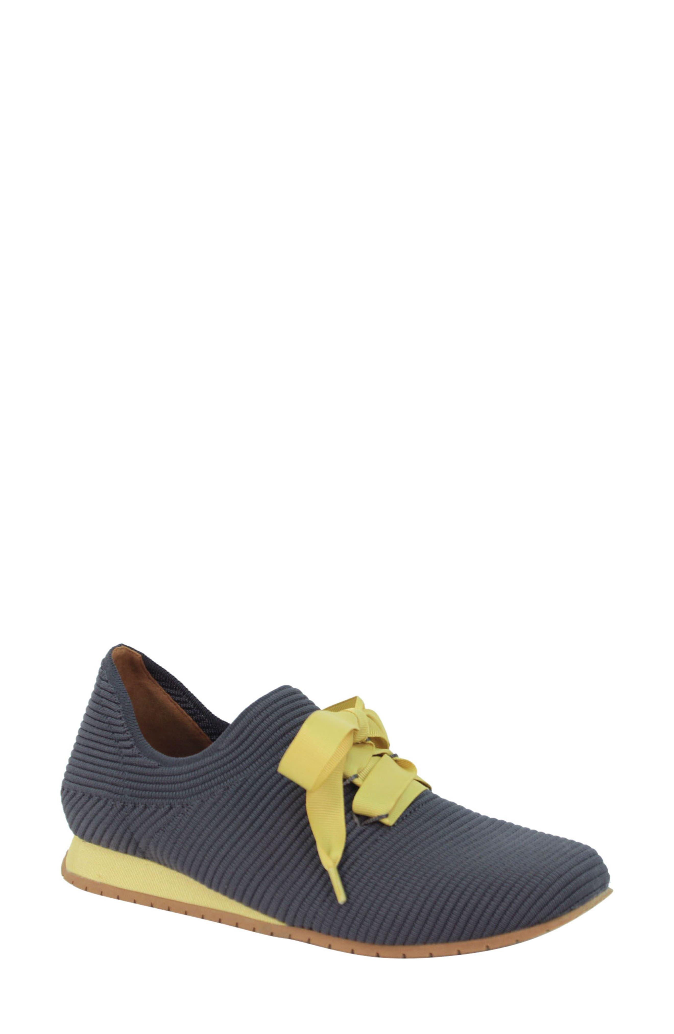 L'AMOUR DES PIEDS, Taimah Sneaker, Main thumbnail 1, color, DARK GREY/ YELLOW FABRIC