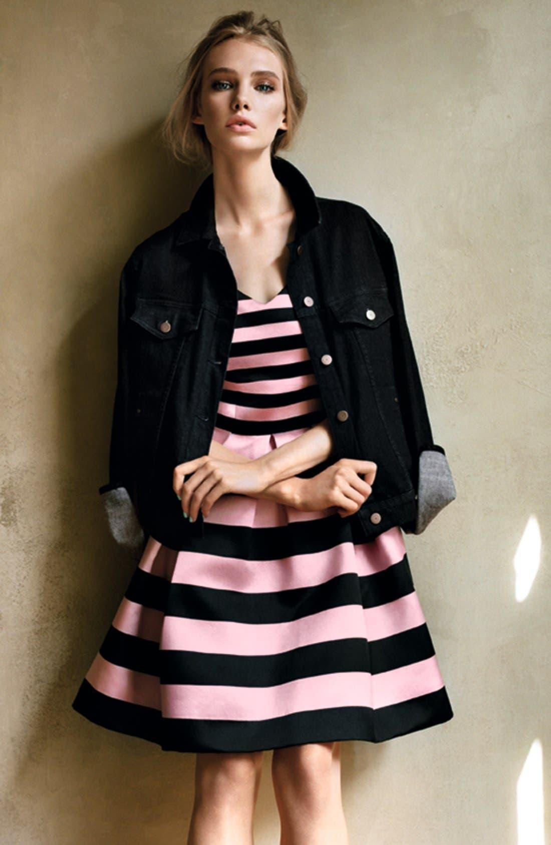 TOPSHOP, Stripe Satin Fit & Flare Dress, Alternate thumbnail 4, color, 001