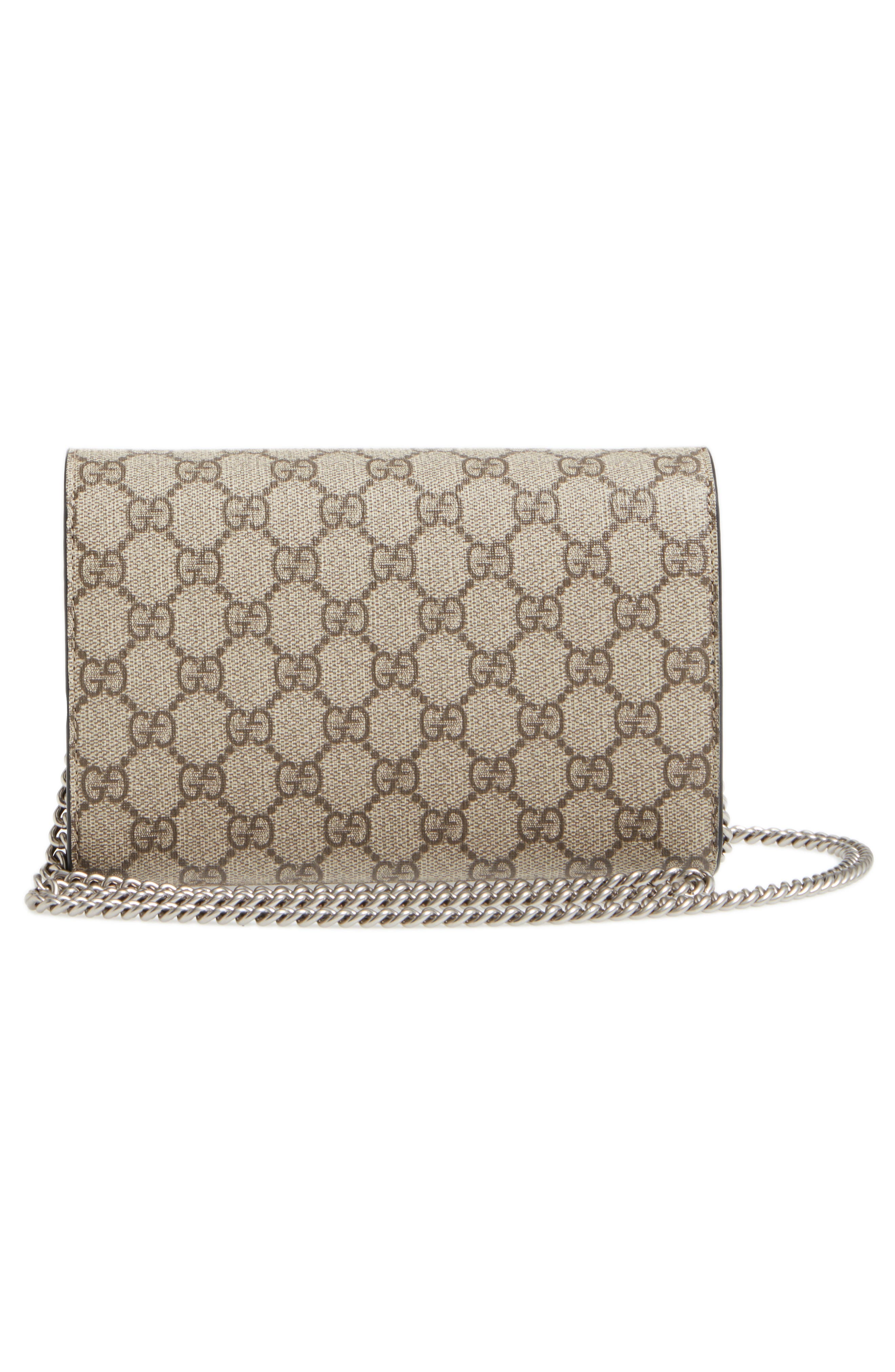 GUCCI, Dionysus GG Supreme Canvas Wallet on a Chain, Alternate thumbnail 3, color, BEIGE EBONY/NERO