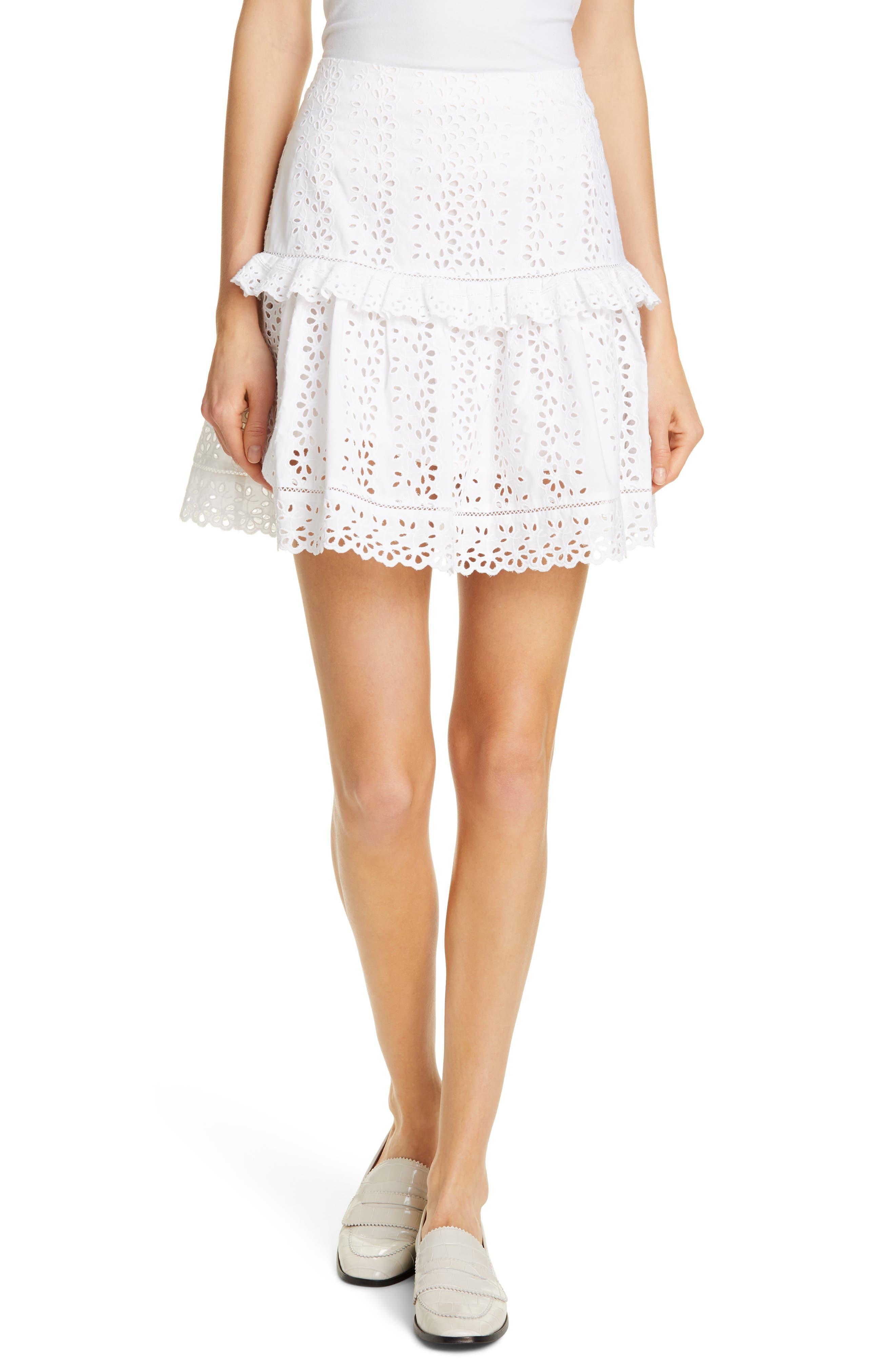 REBECCA TAYLOR Karina Cotton Eyelet Skirt, Main, color, MILK