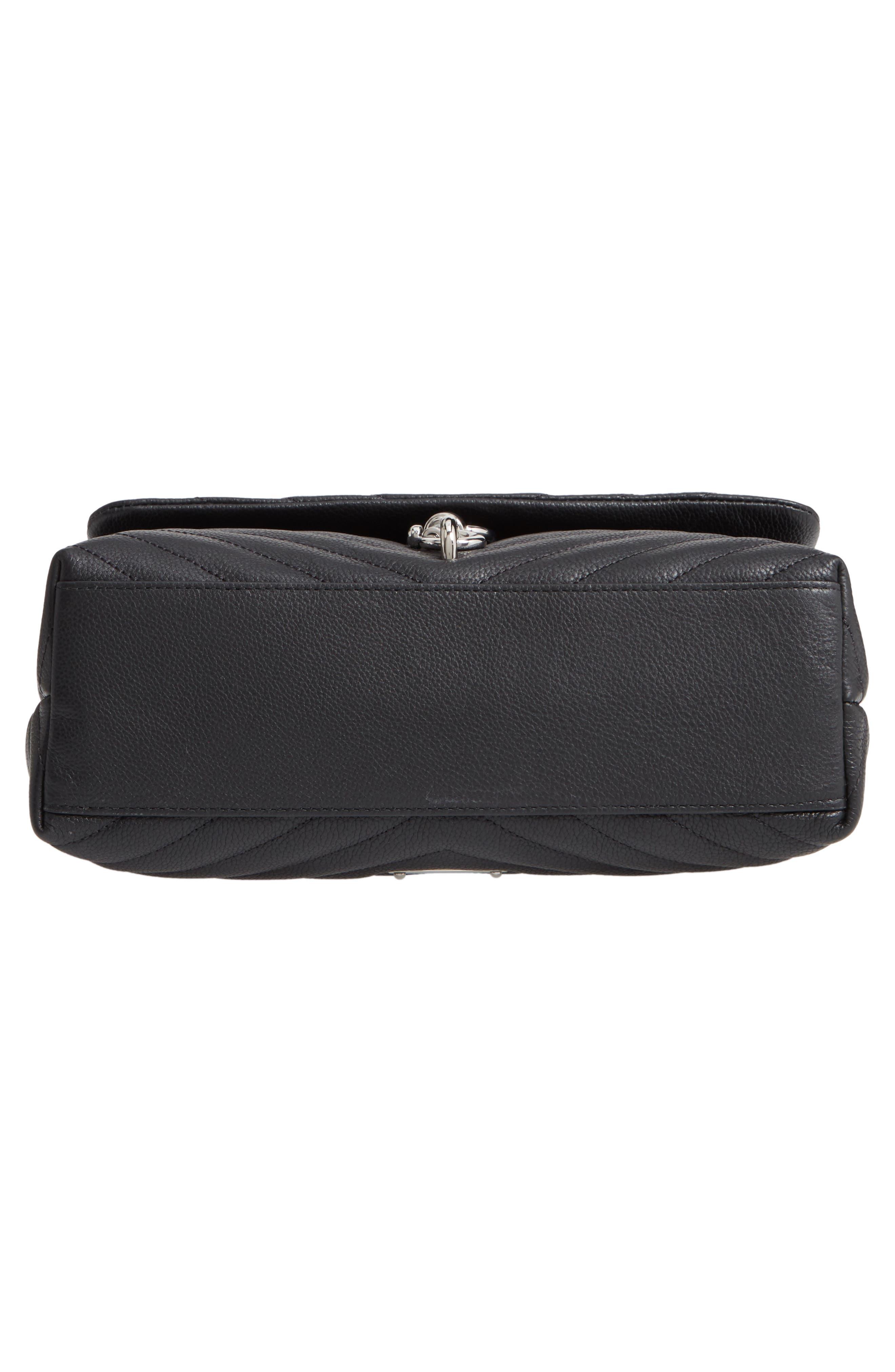 REBECCA MINKOFF, Edie Flap Quilted Leather Shoulder Bag, Alternate thumbnail 7, color, BLACK