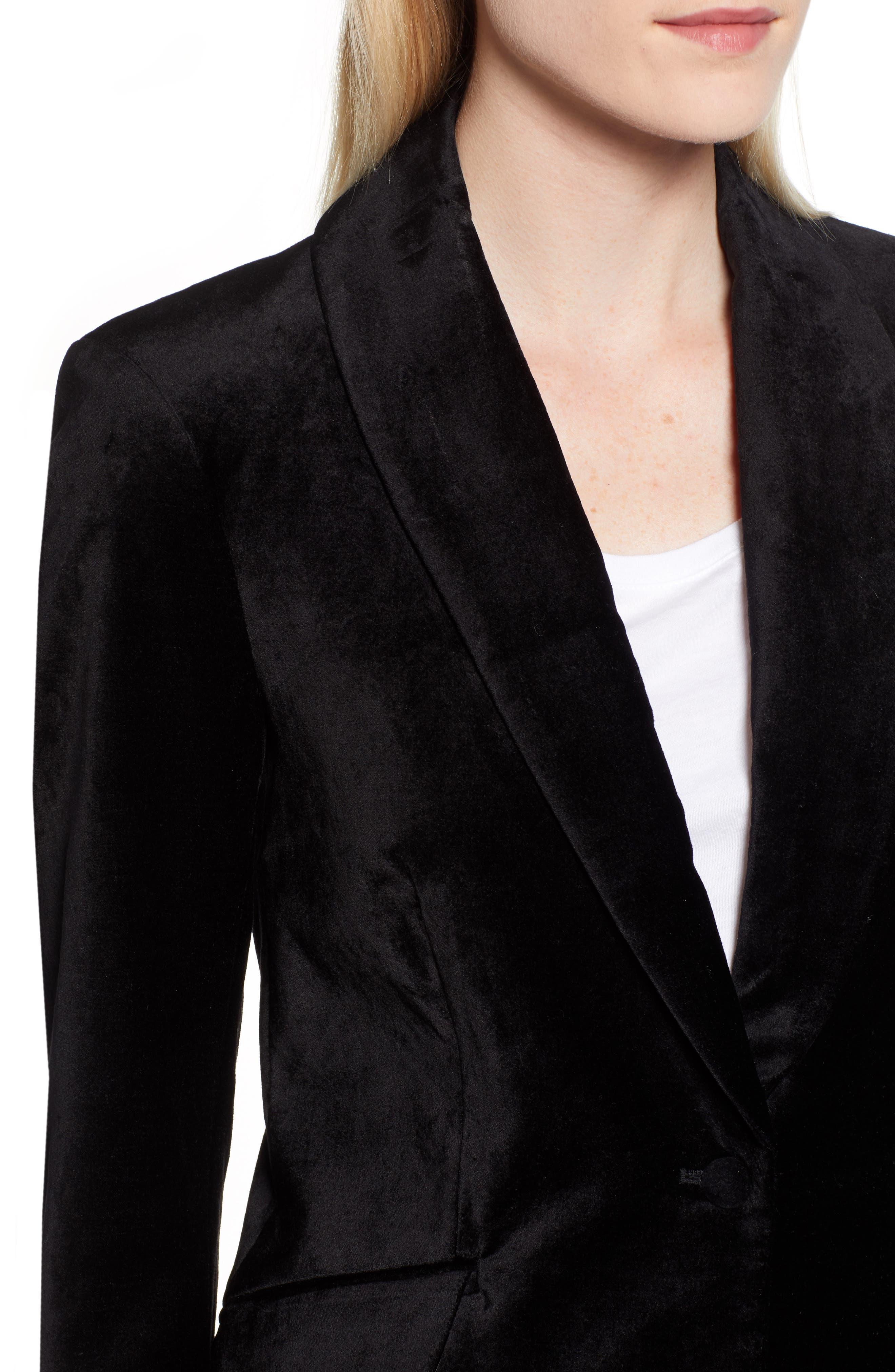 JEN7 BY 7 FOR ALL MANKIND, Stretch Cotton Velvet Blazer, Alternate thumbnail 5, color, BLACK