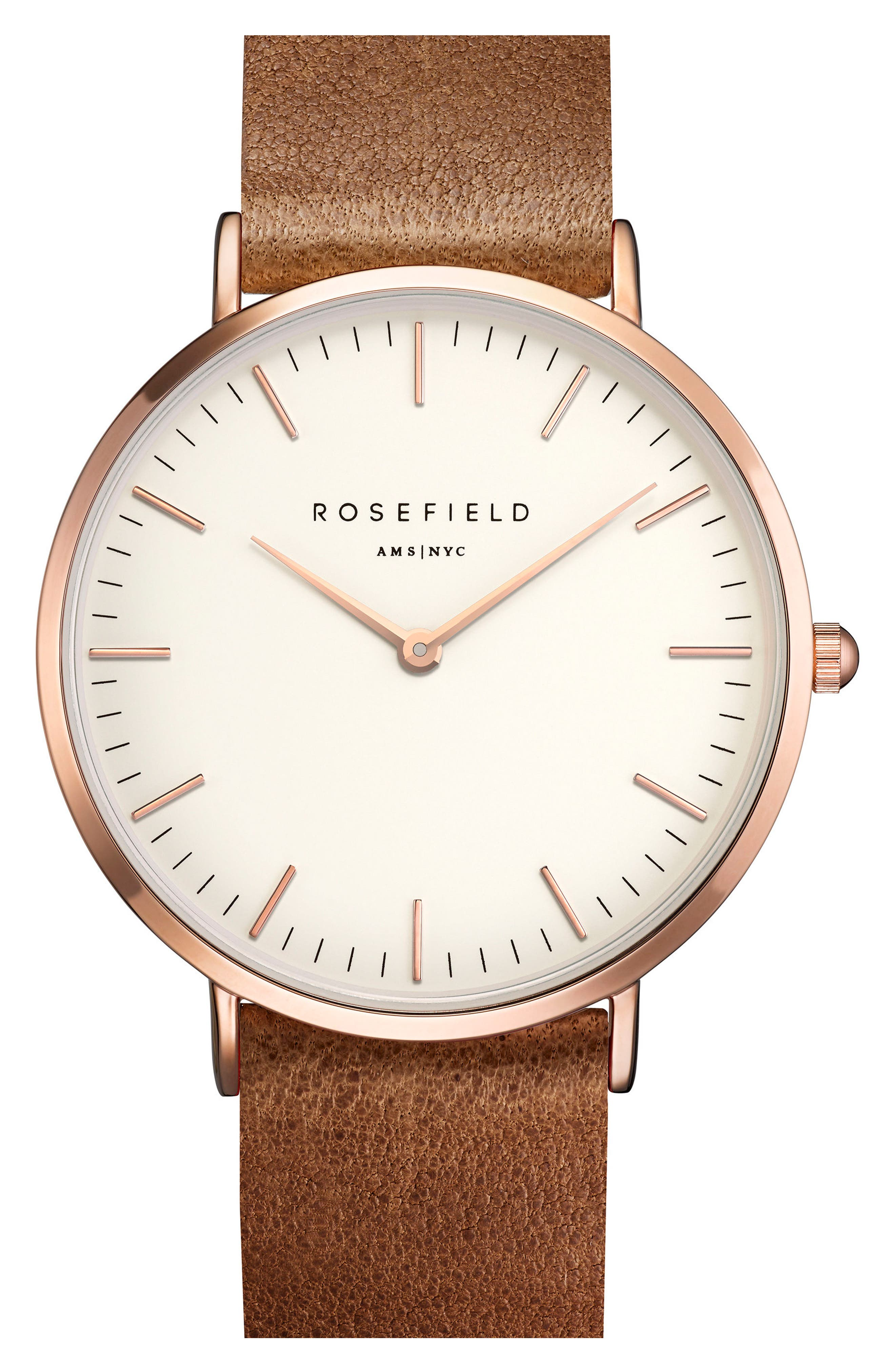 ROSEFIELD Tribeca Leather Strap Watch, 33mm, Main, color, BROWN/ WHITE/ ROSE GOLD