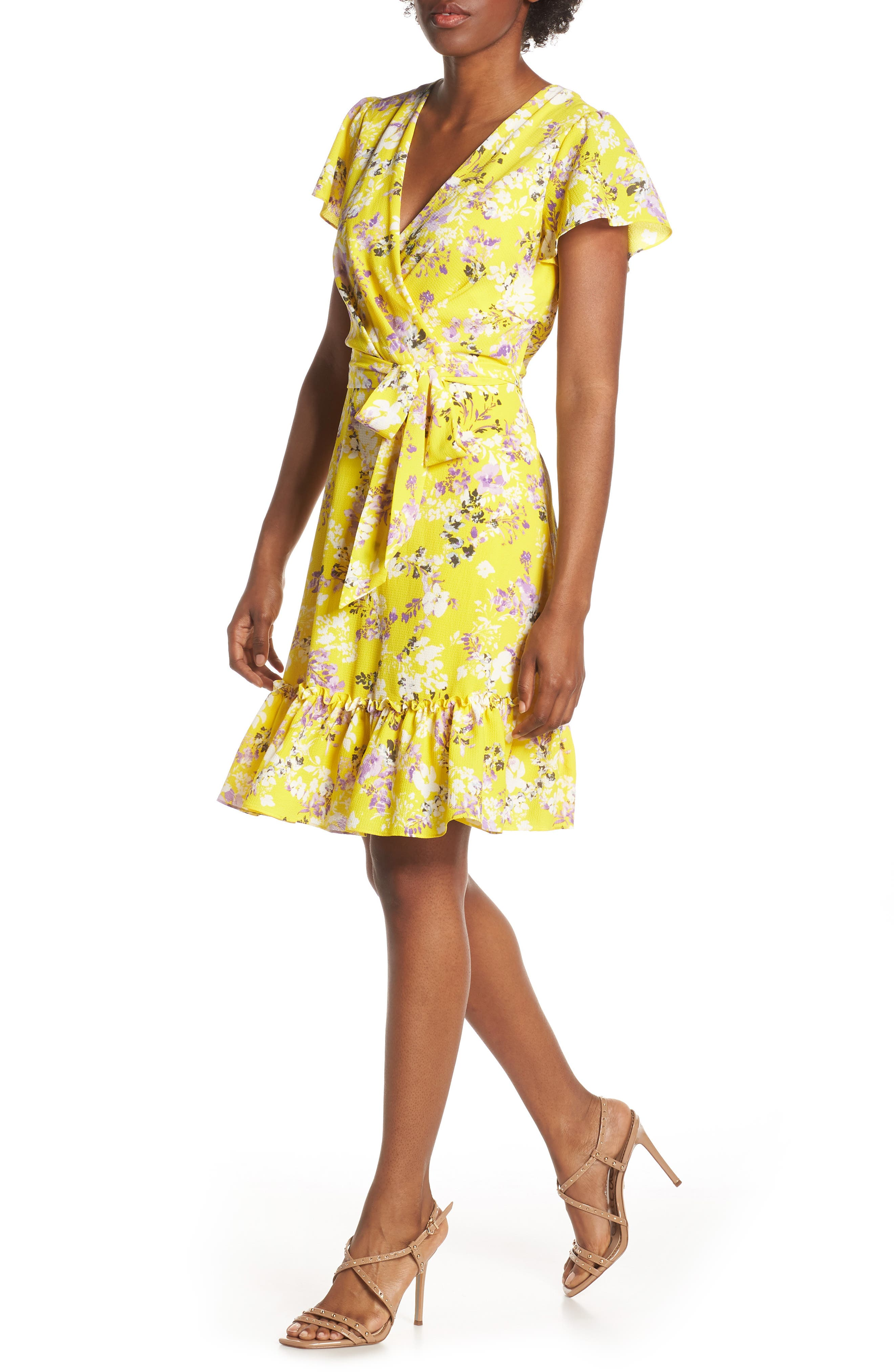 JULIA JORDAN, Floral Wrap Dress, Main thumbnail 1, color, YELLOW MULTI