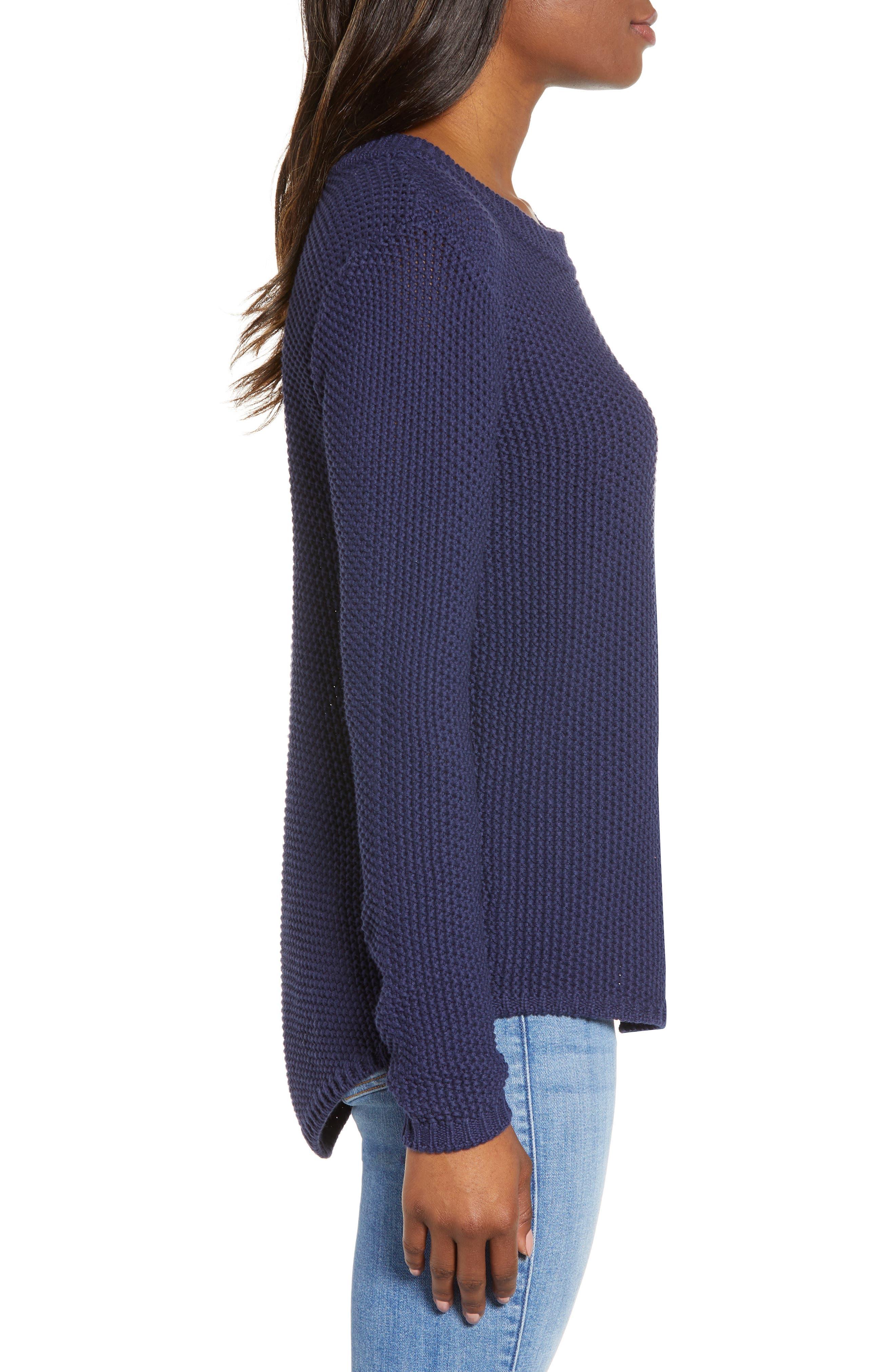 CASLON<SUP>®</SUP>, Stitch Stripe Sweater, Alternate thumbnail 3, color, NAVY PEACOAT