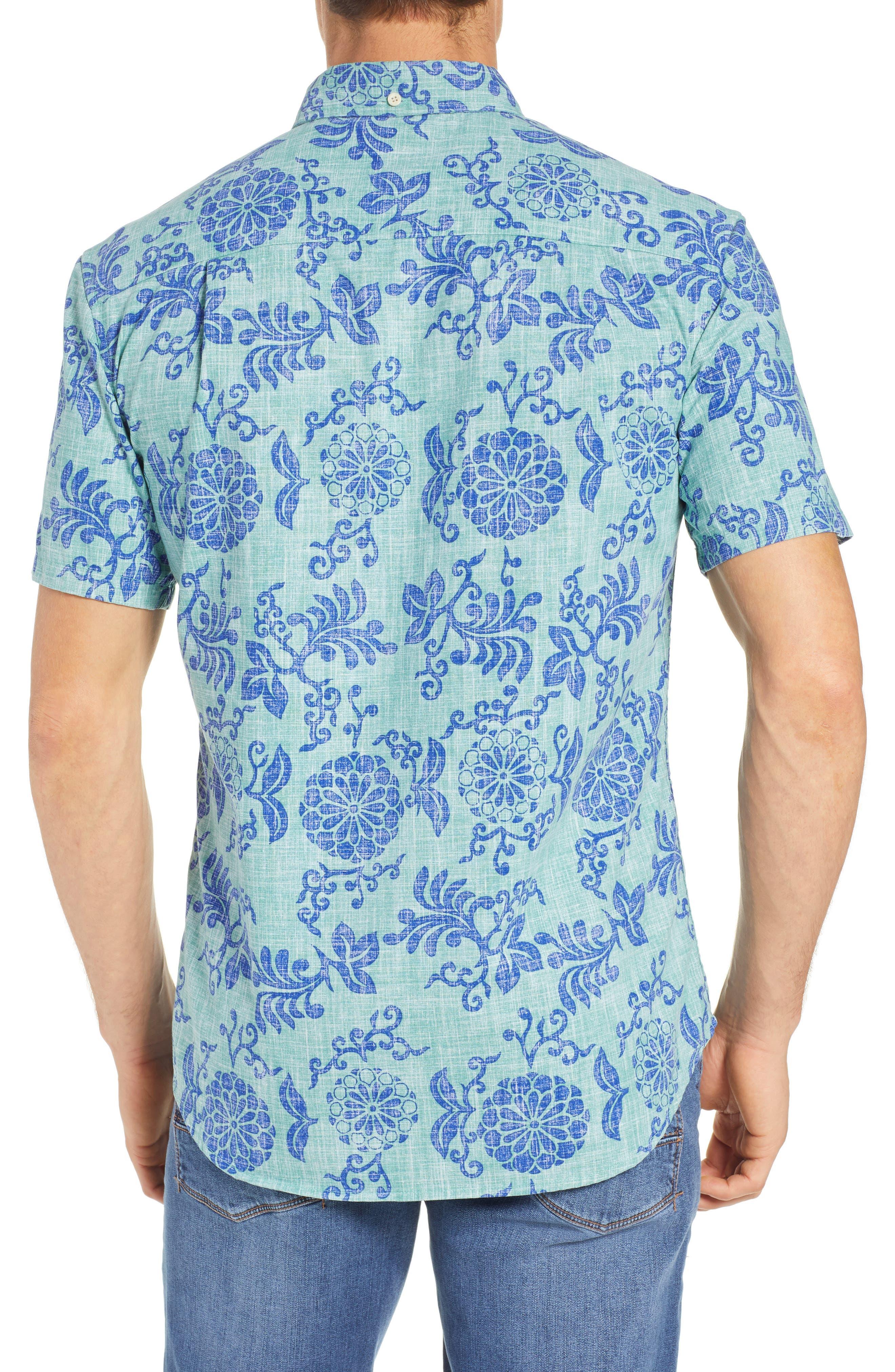 REYN SPOONER, Royal Chrysanthemums Regular Fit Sport Shirt, Alternate thumbnail 3, color, 310