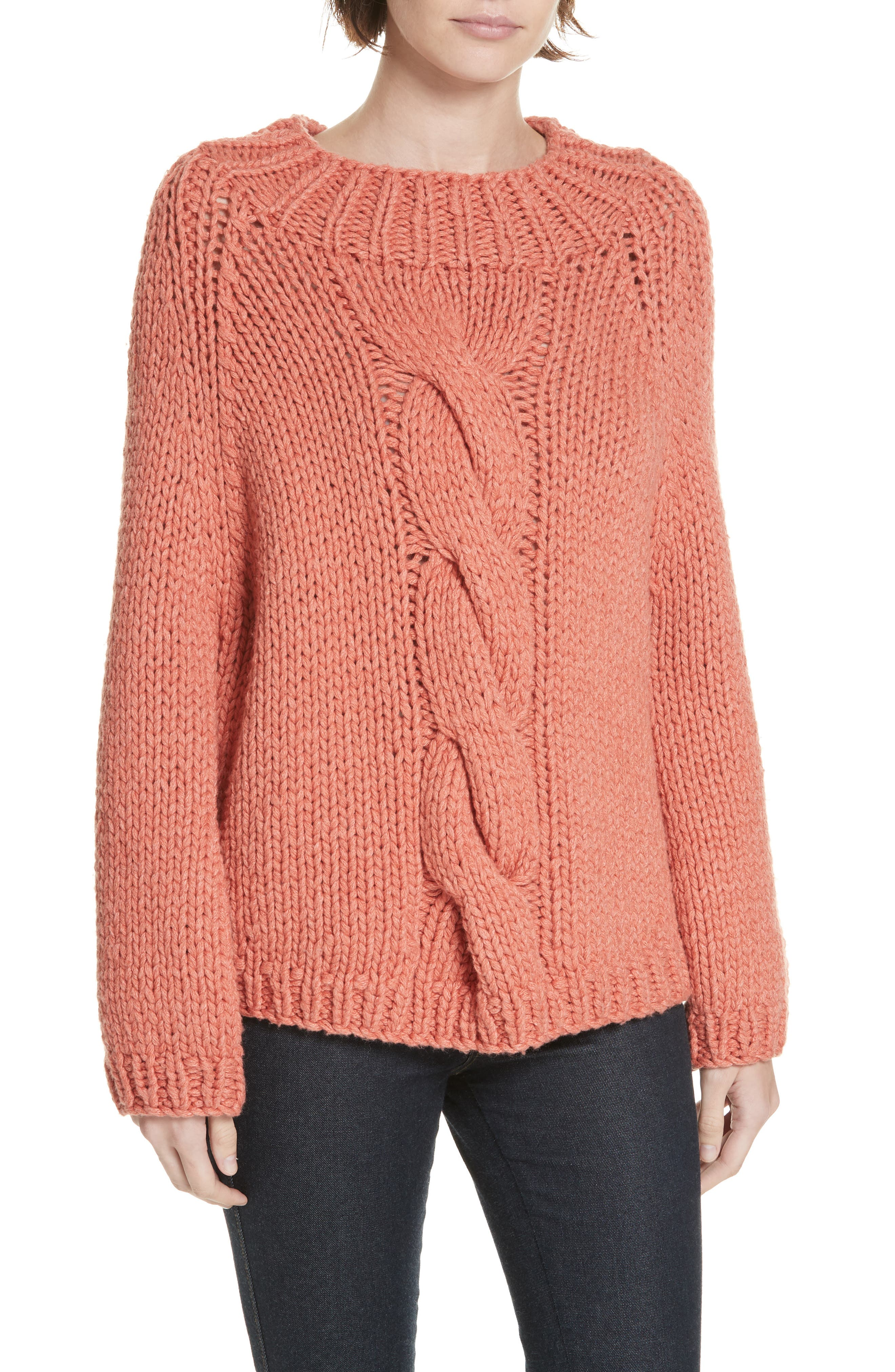 Brochu Walker Gia Hand Knit Wool Cashmere Blend Sweater, Coral
