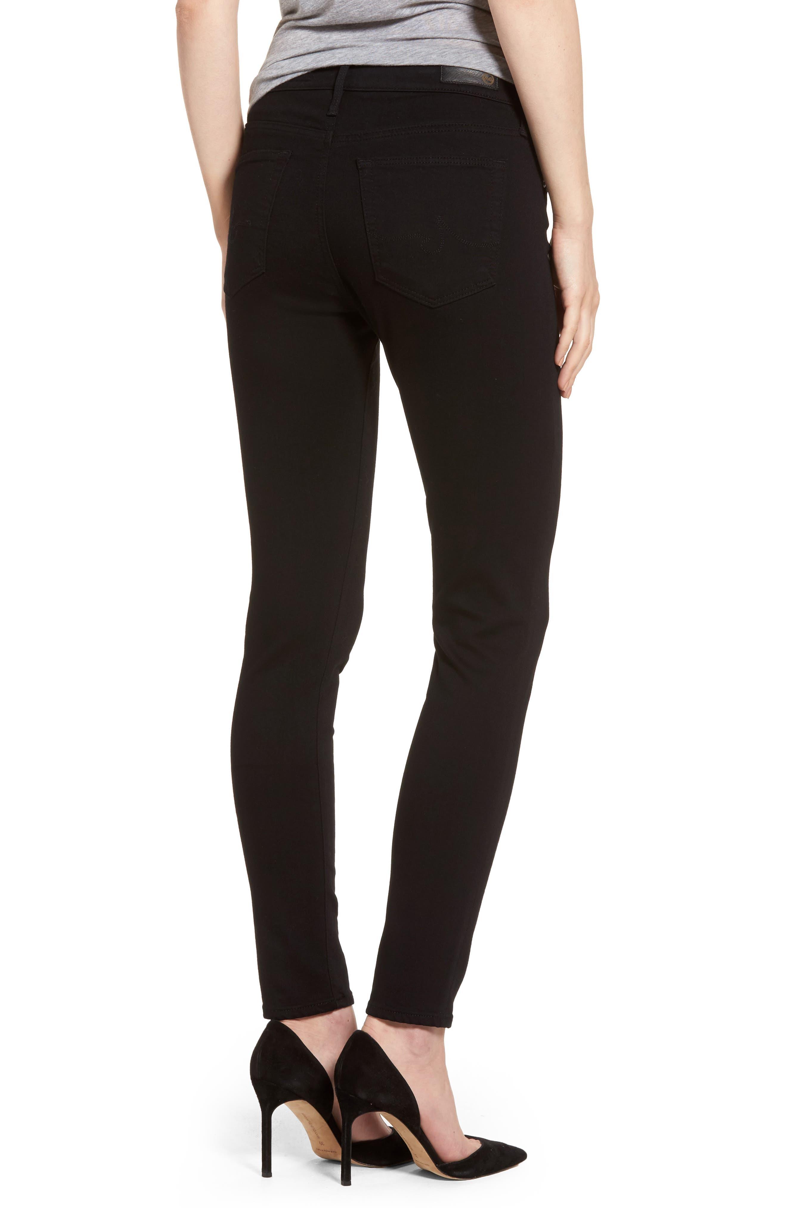 AG, Farrah High Waist Ankle Skinny Jeans, Alternate thumbnail 2, color, SUPER BLACK