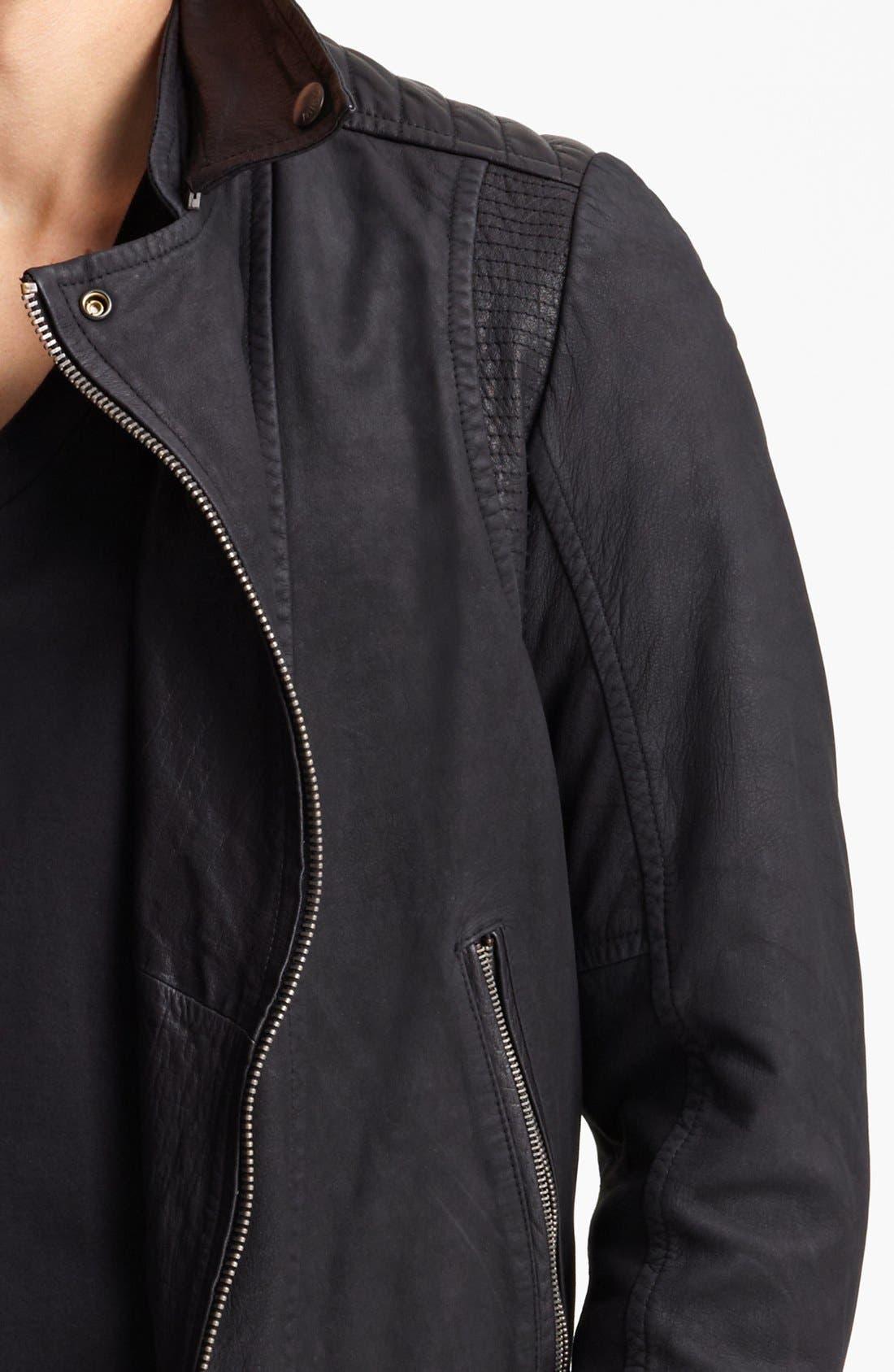 JUST CAVALLI, Leather Moto Jacket, Alternate thumbnail 3, color, 001