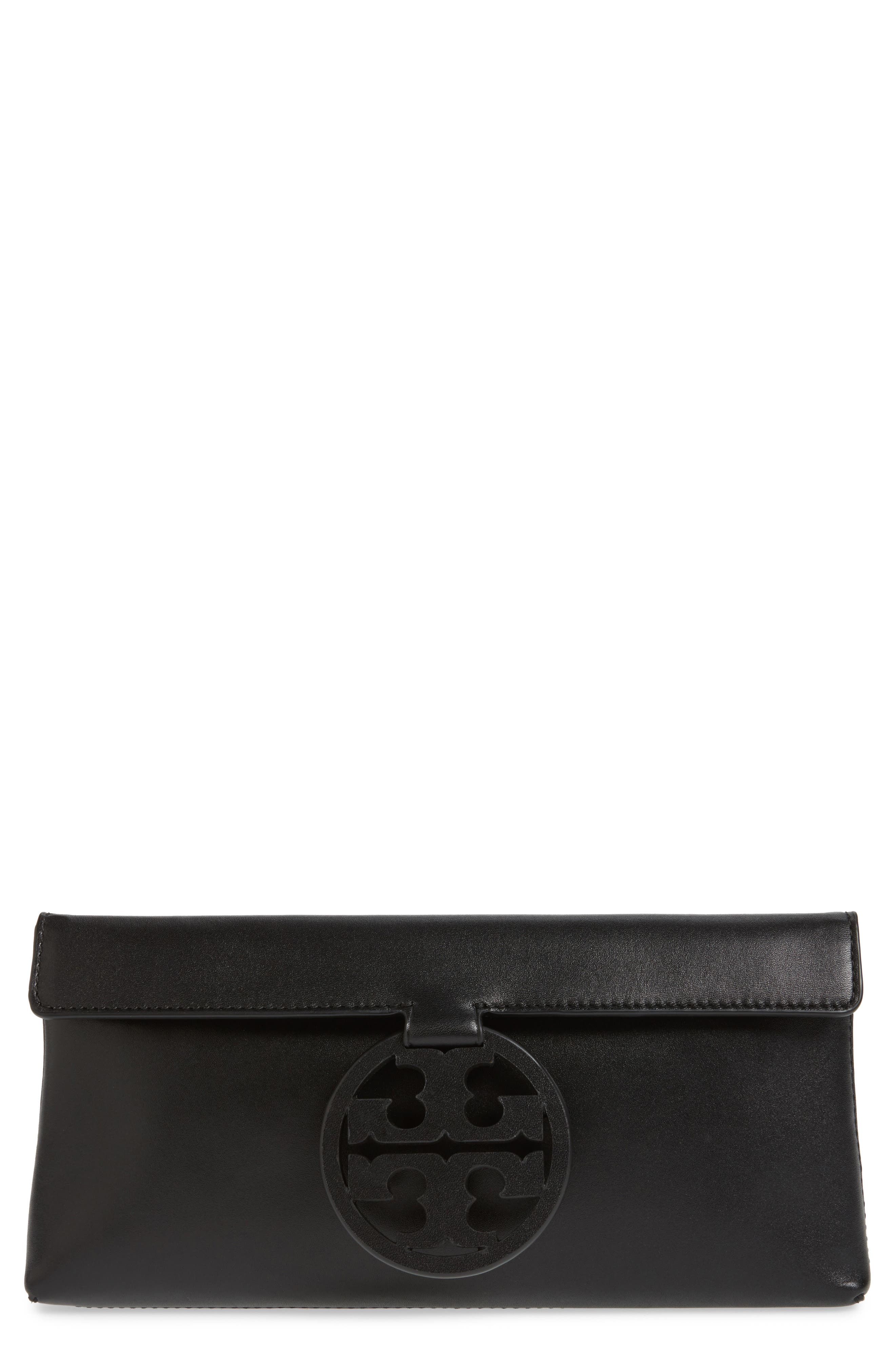 TORY BURCH, Miller Leather Clutch, Main thumbnail 1, color, BLACK