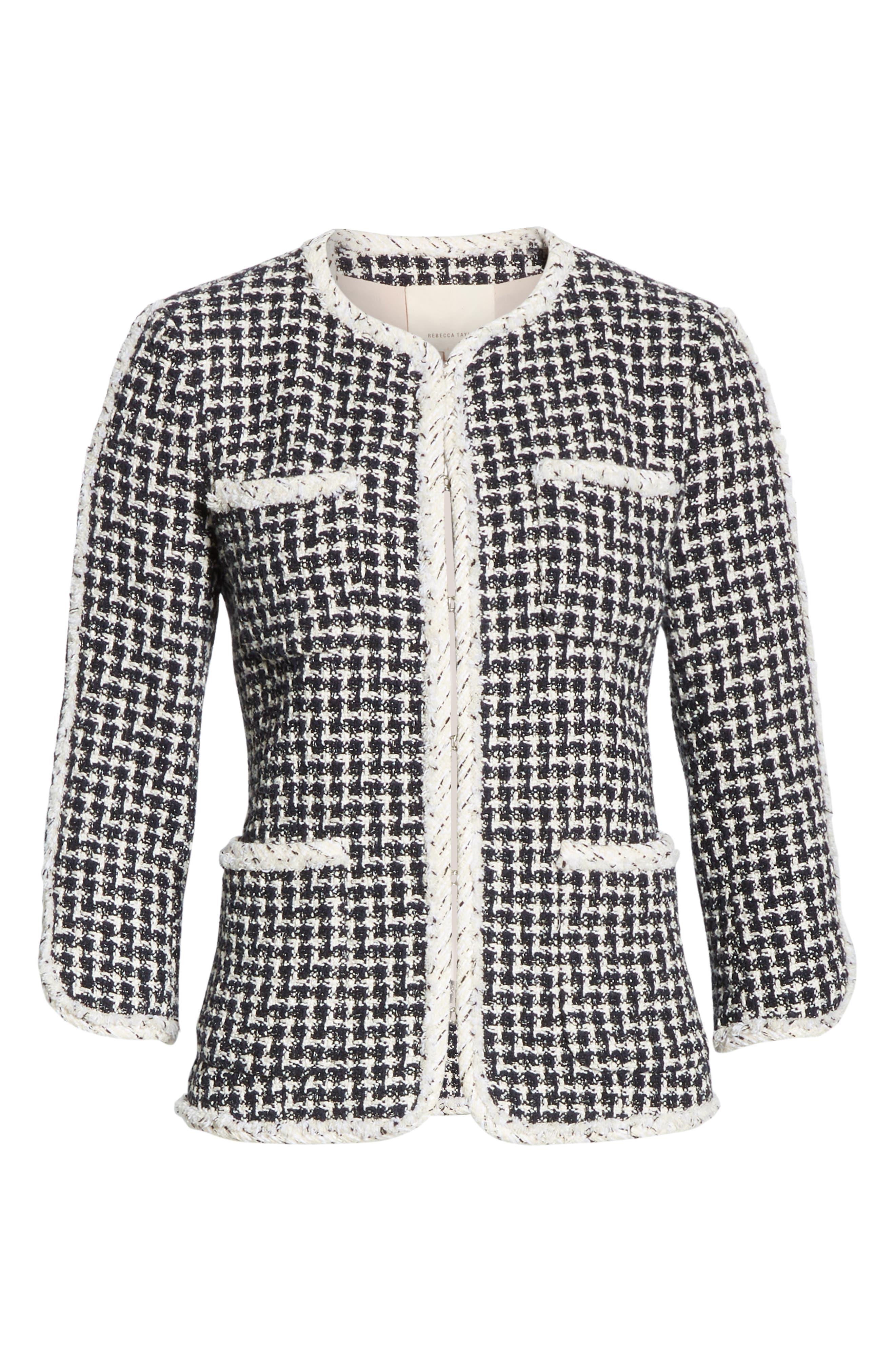 REBECCA TAYLOR, Tweed Jacket, Alternate thumbnail 6, color, BLACK COMBO