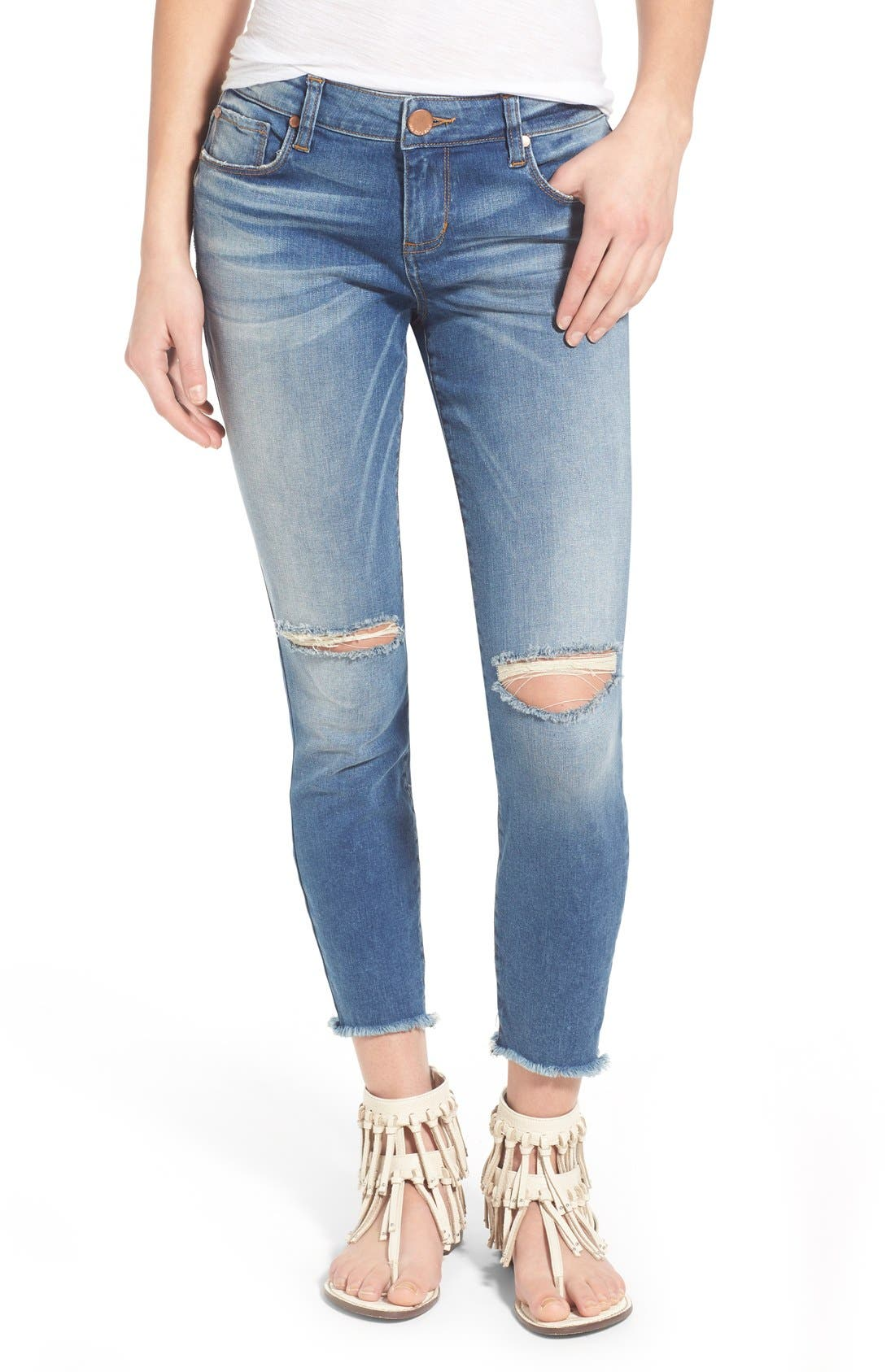 STS BLUE, Crop Raw Hem Skinny Jeans, Main thumbnail 1, color, 400