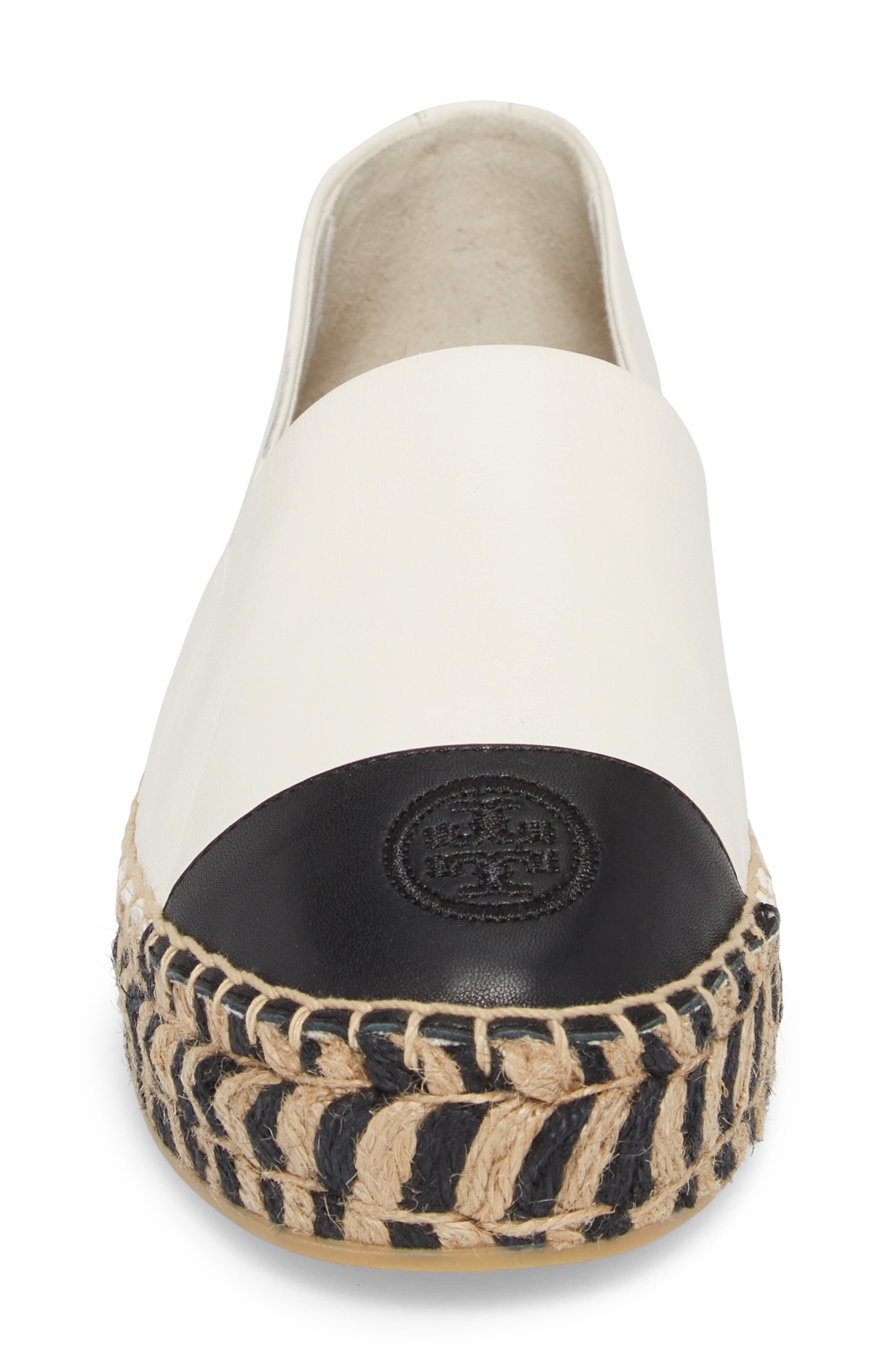 TORY BURCH, Colorblock Platform Espadrille, Alternate thumbnail 4, color, PERFECT IVORY/ PERFECT BLACK