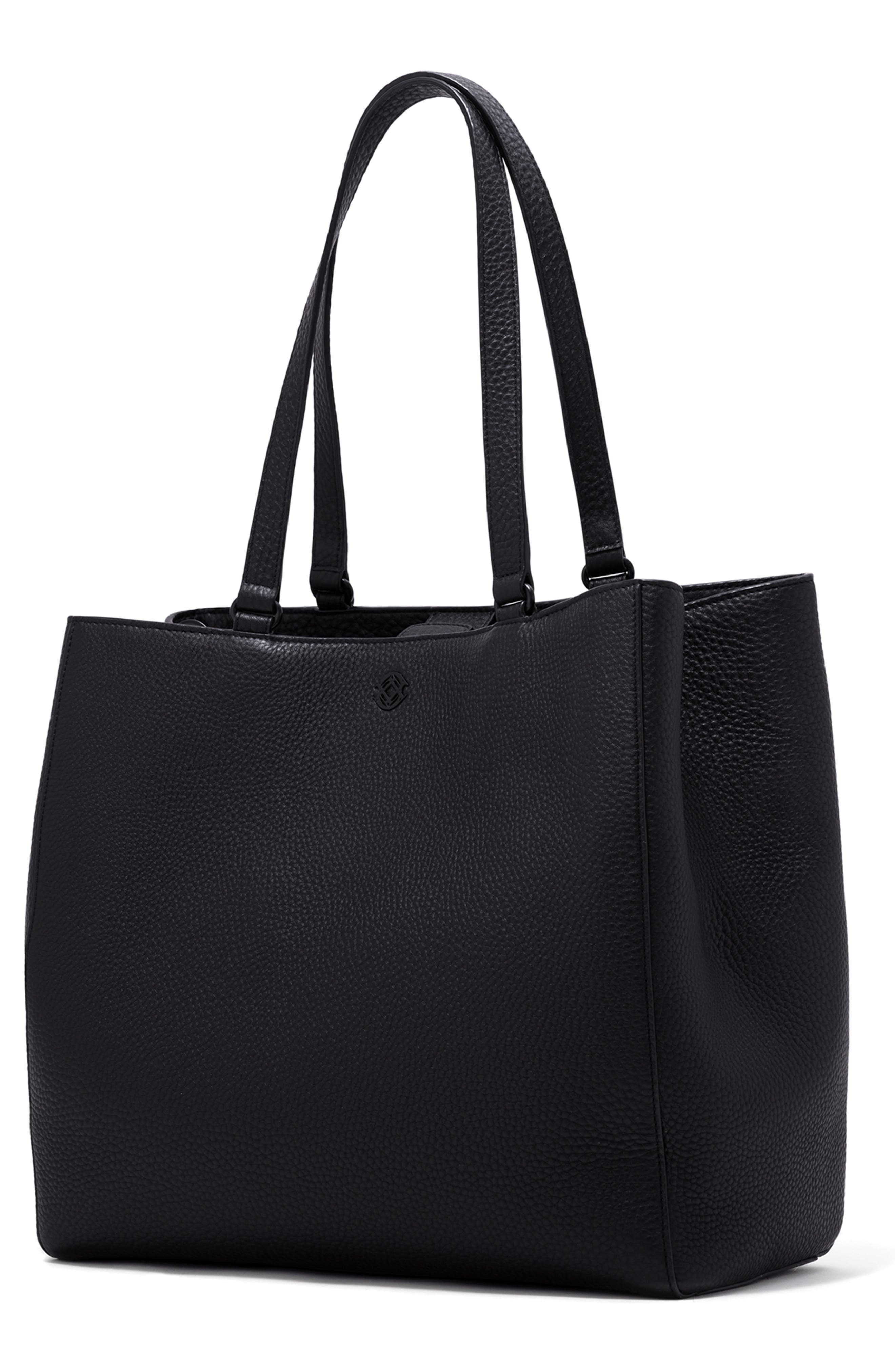 DAGNE DOVER, Large Allyn Leather Tote, Alternate thumbnail 6, color, ONYX