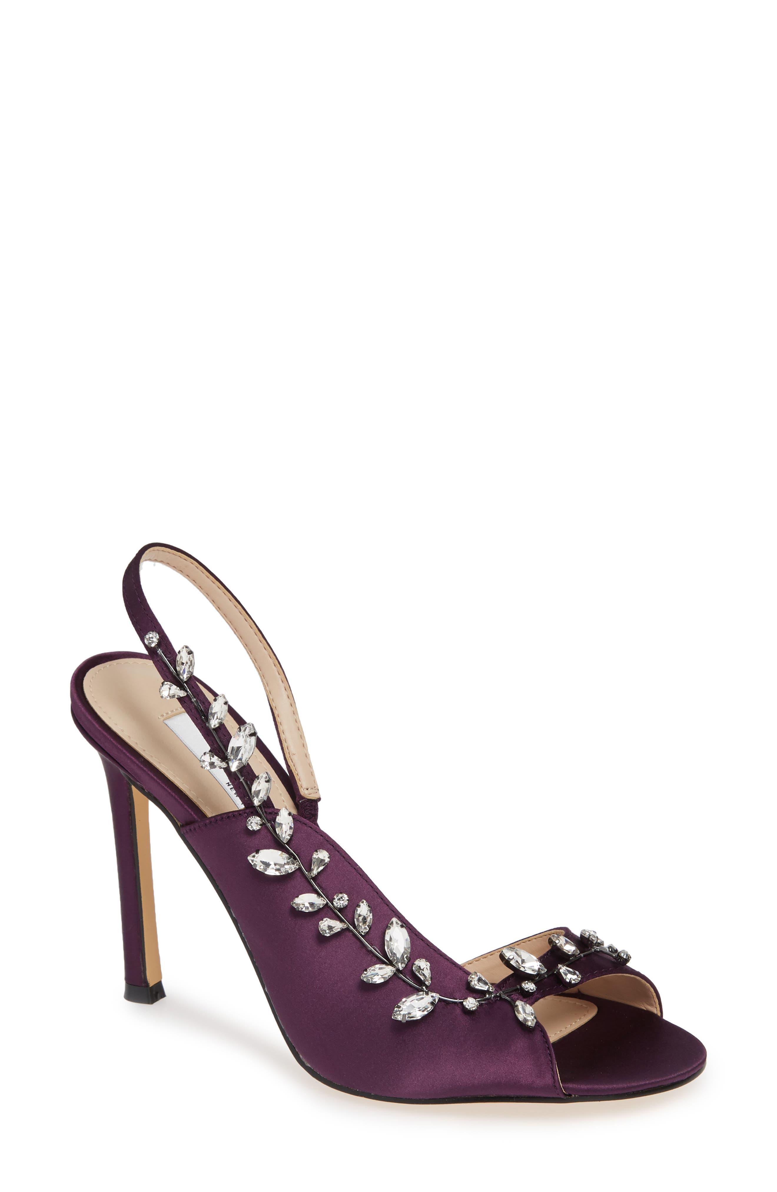 NINA Deanna Embellished Sandal, Main, color, EGGPLANT SATIN