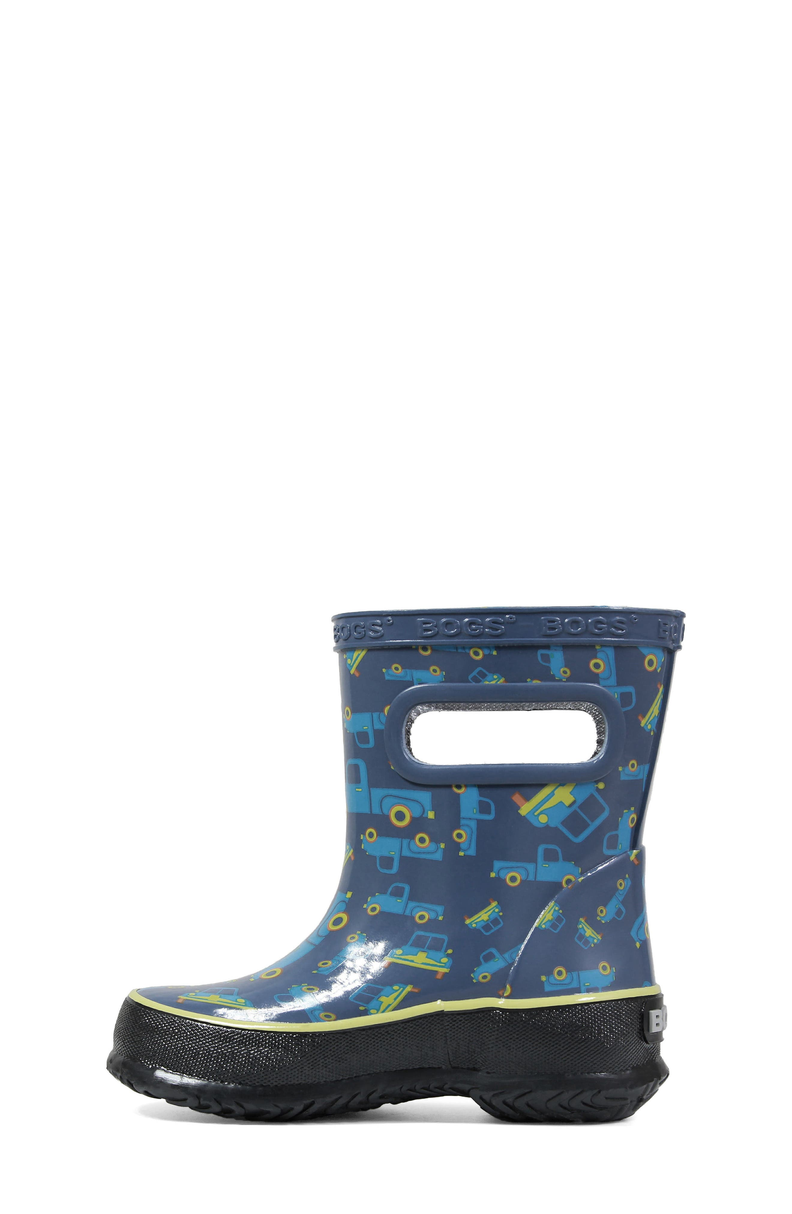 BOGS, Skipper Truck Print Rubber Rain Boot, Alternate thumbnail 3, color, 460
