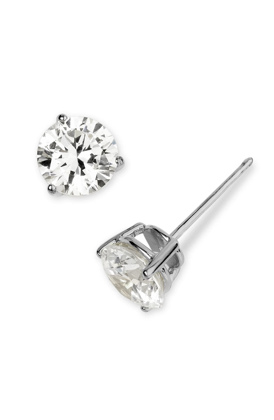 NORDSTROM, 3ct tw Cubic Zirconia Earrings, Alternate thumbnail 4, color, PLATINUM