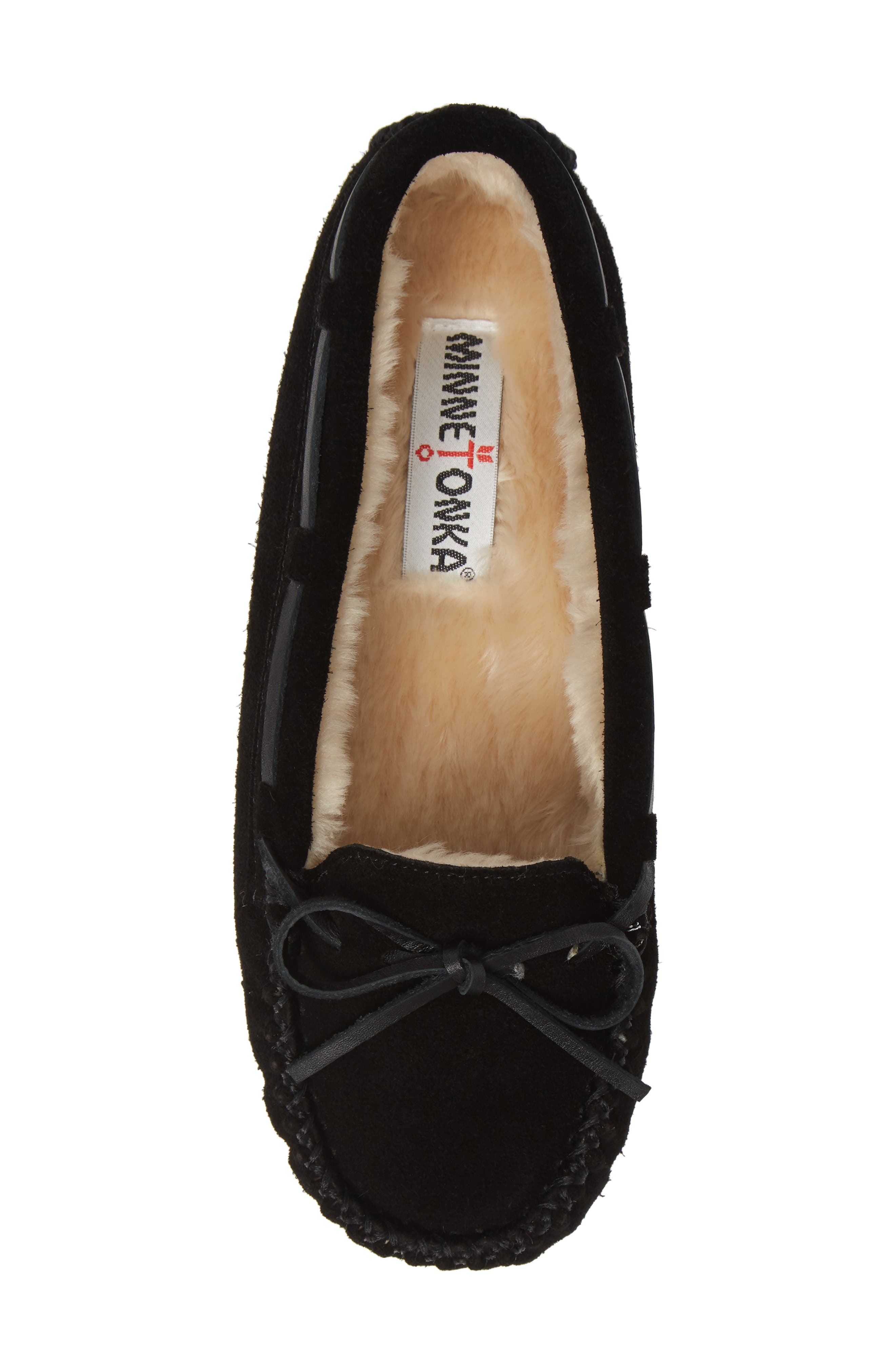 MINNETONKA, 'Cally' Slipper, Alternate thumbnail 5, color, BLACK SUEDE