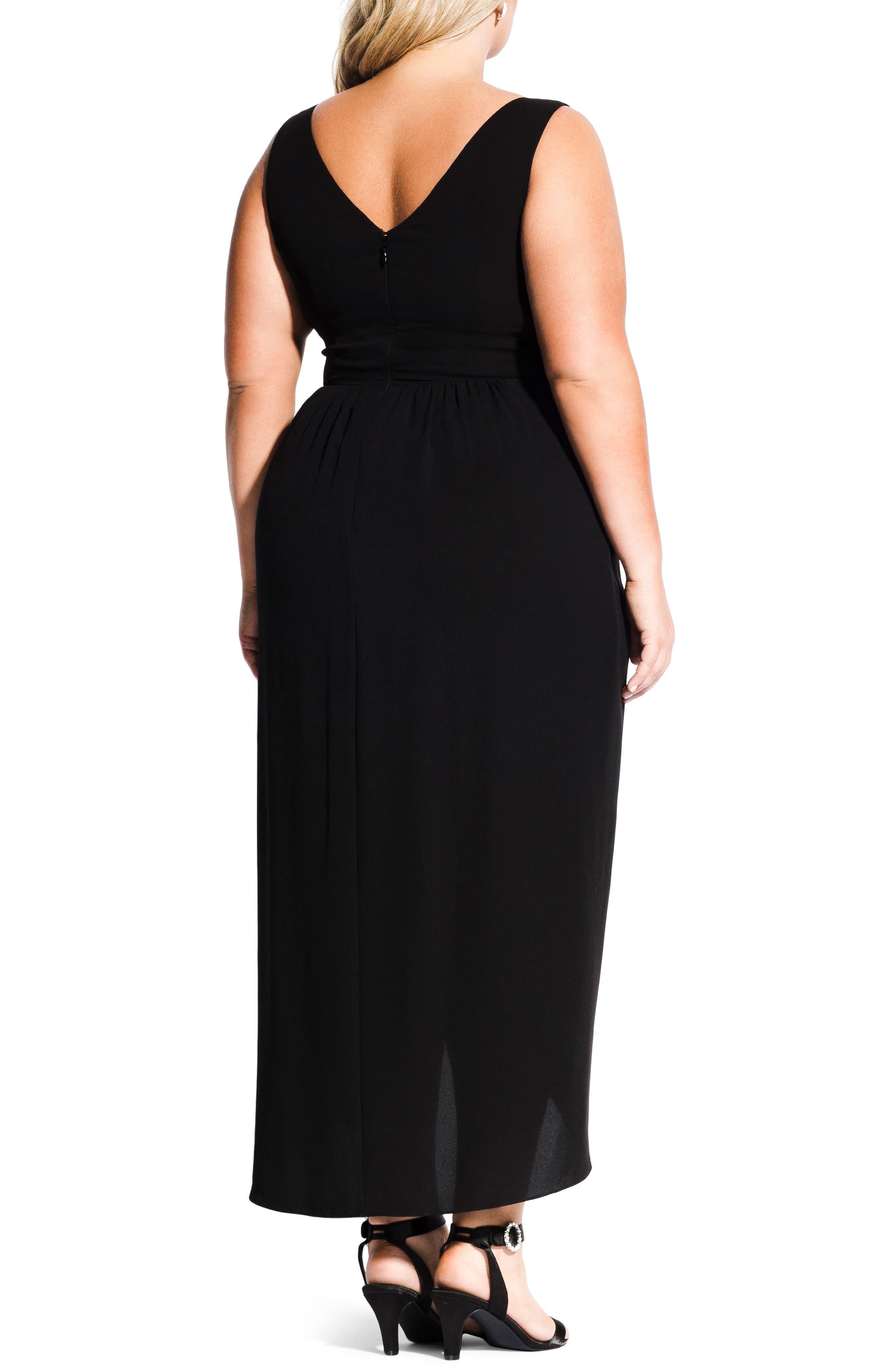 CITY CHIC, Cherish Maxi Dress, Alternate thumbnail 2, color, BLACK