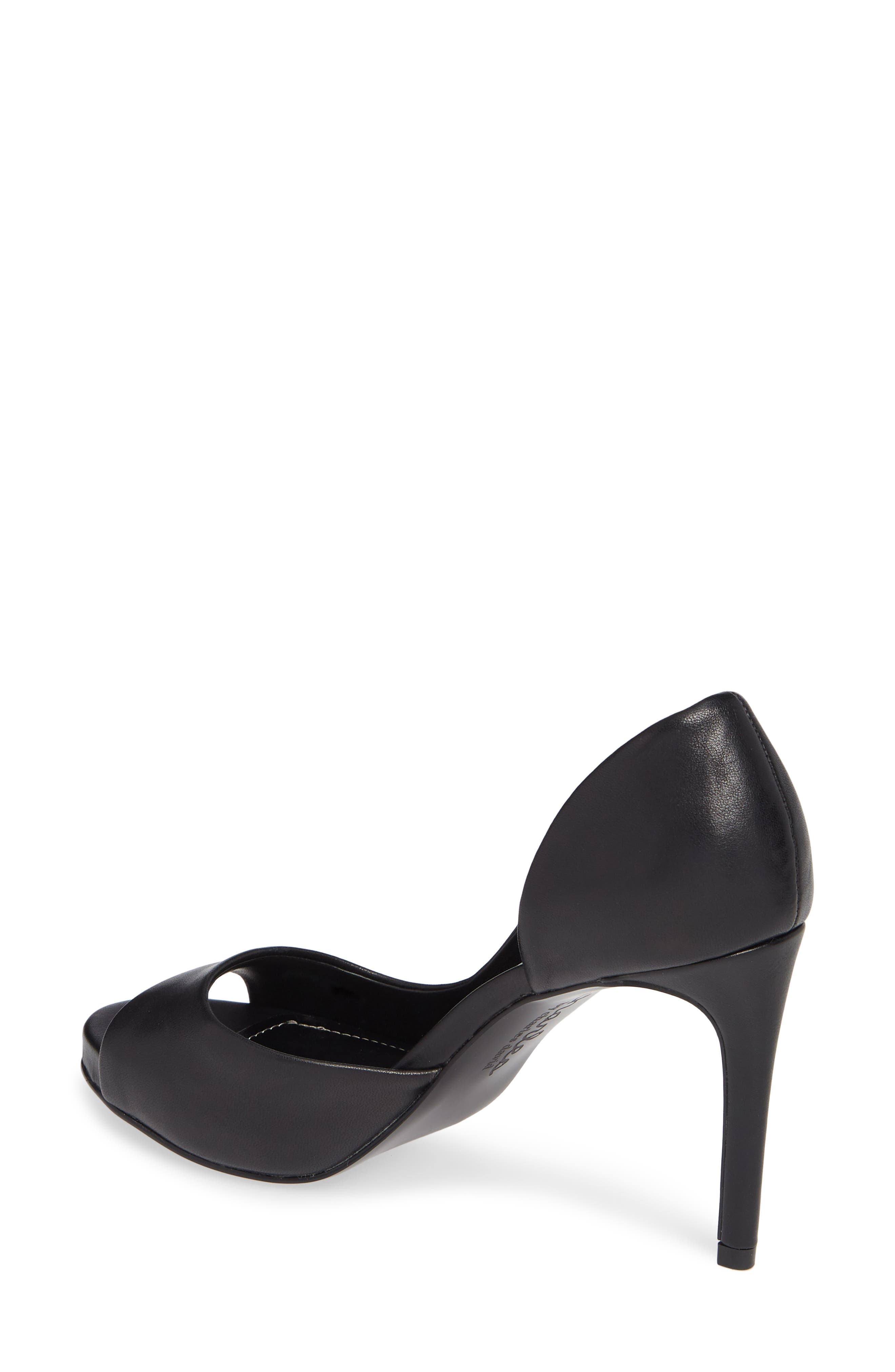 CHARLES BY CHARLES DAVID, Chess Open Toe Pump, Alternate thumbnail 2, color, BLACK LEATHER