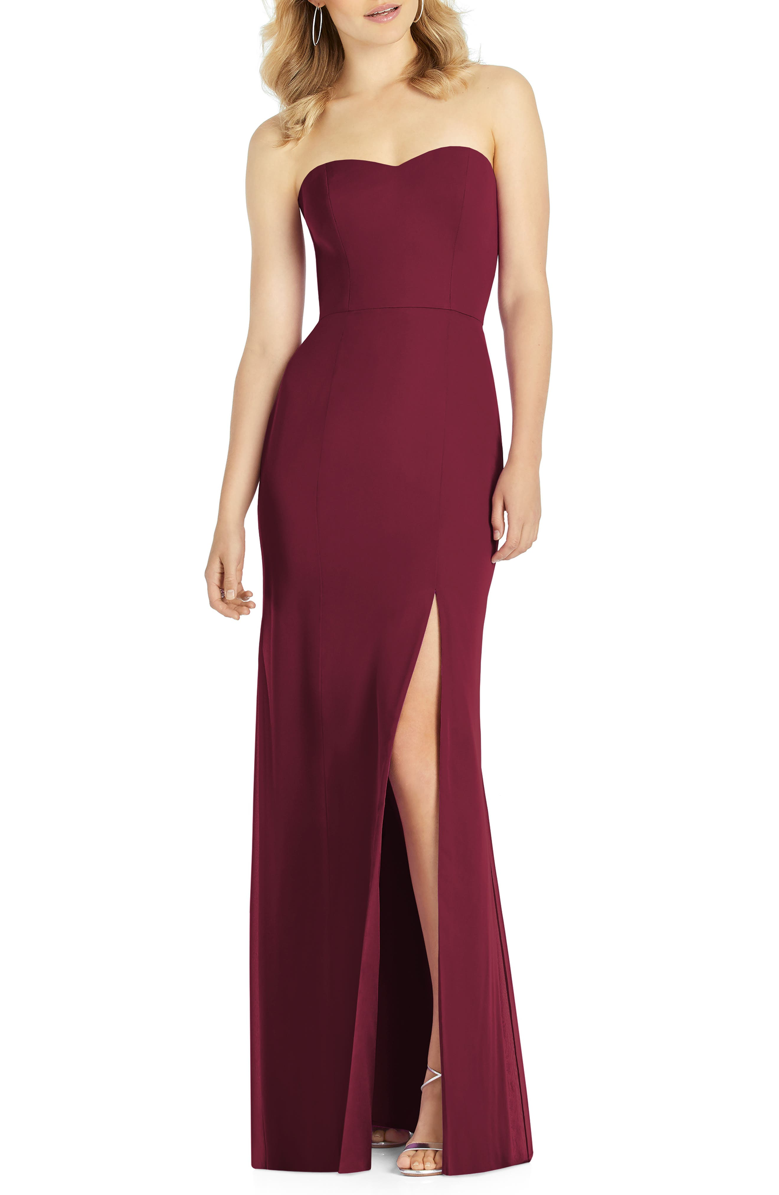 After Six Strapless Chiffon Trumpet Gown, Burgundy